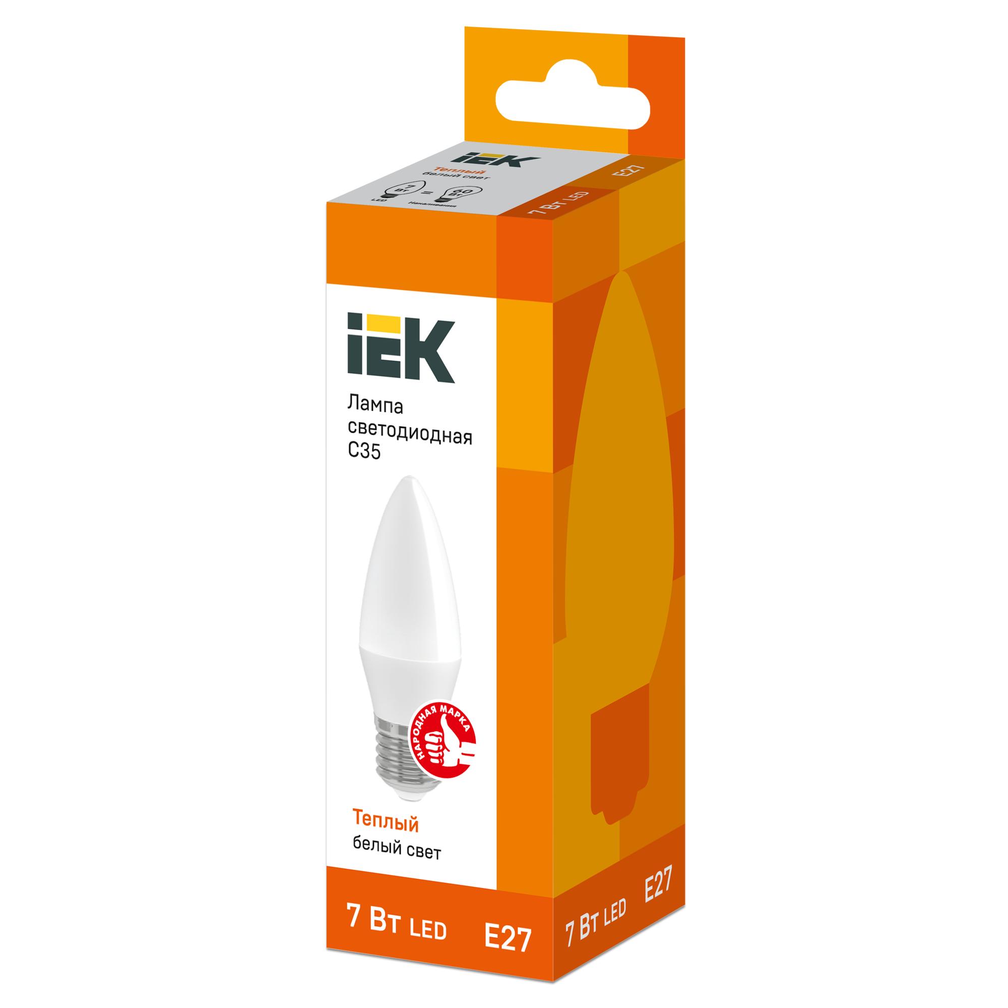 Лампа светодиодная IEK свеча Е27 7 Вт 3000 К свет тёплый белый