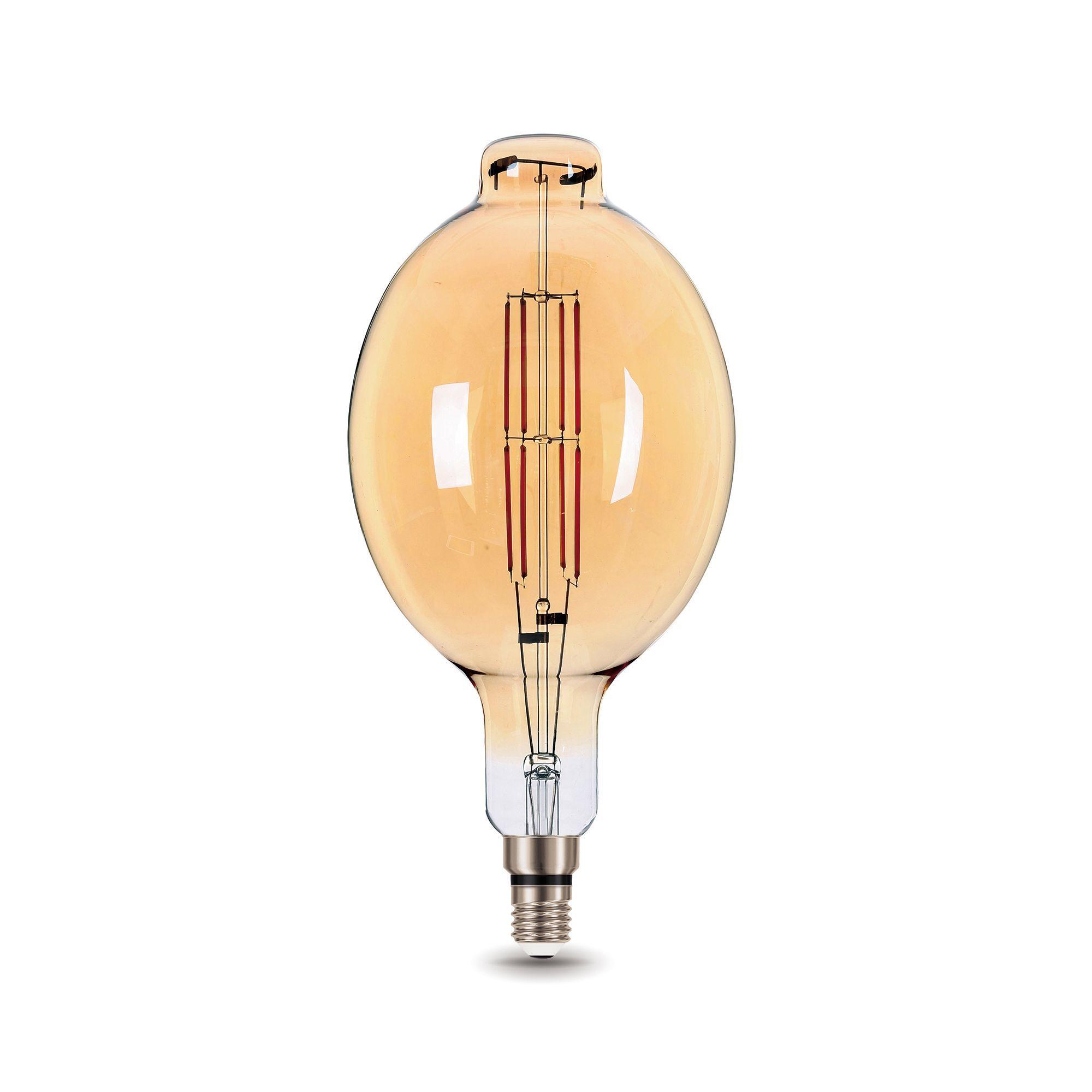 Лампа большая светодиодная Gauss Е27 8 Вт овал прямой свет тёплый золотая колба диаметр 18 см