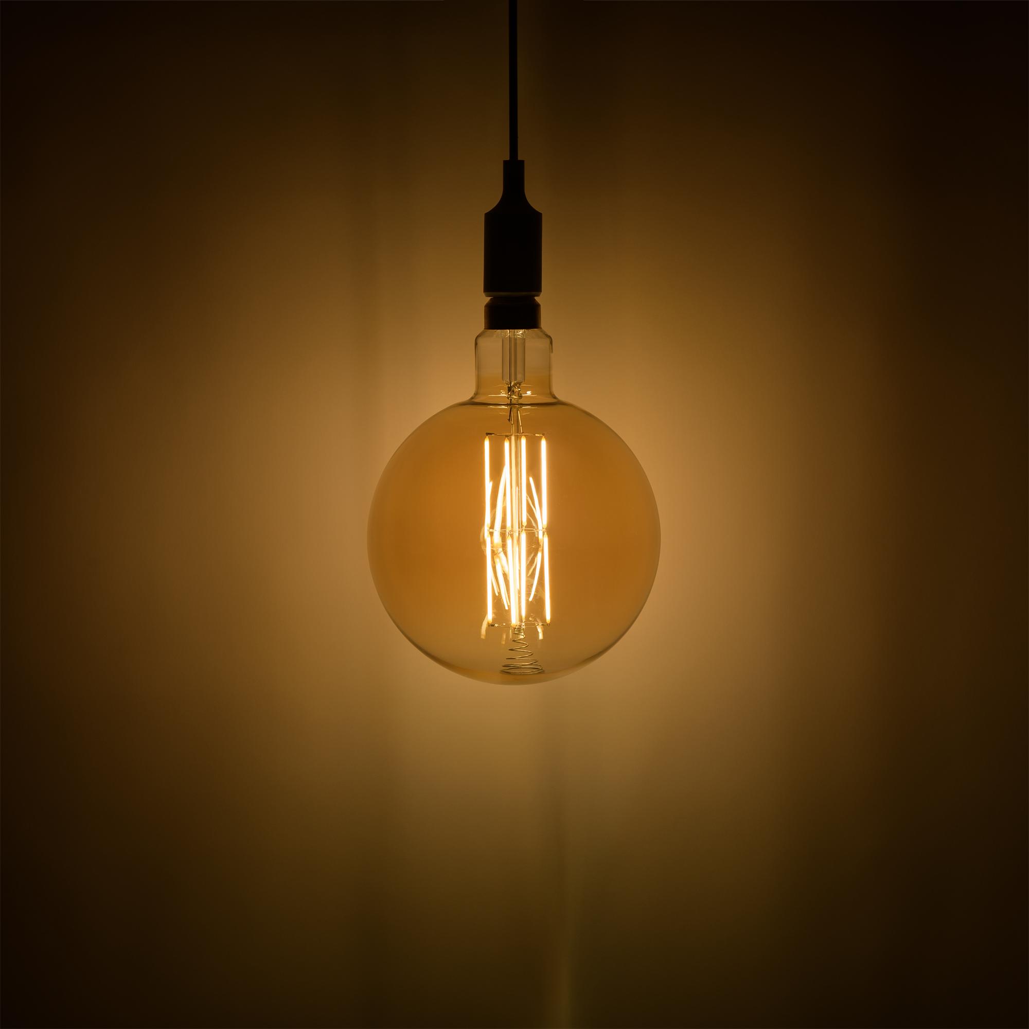 Лампа большая светодиодная Gauss Е27 8 Вт шар прямой свет тёплый золотая колба диаметр 20 см