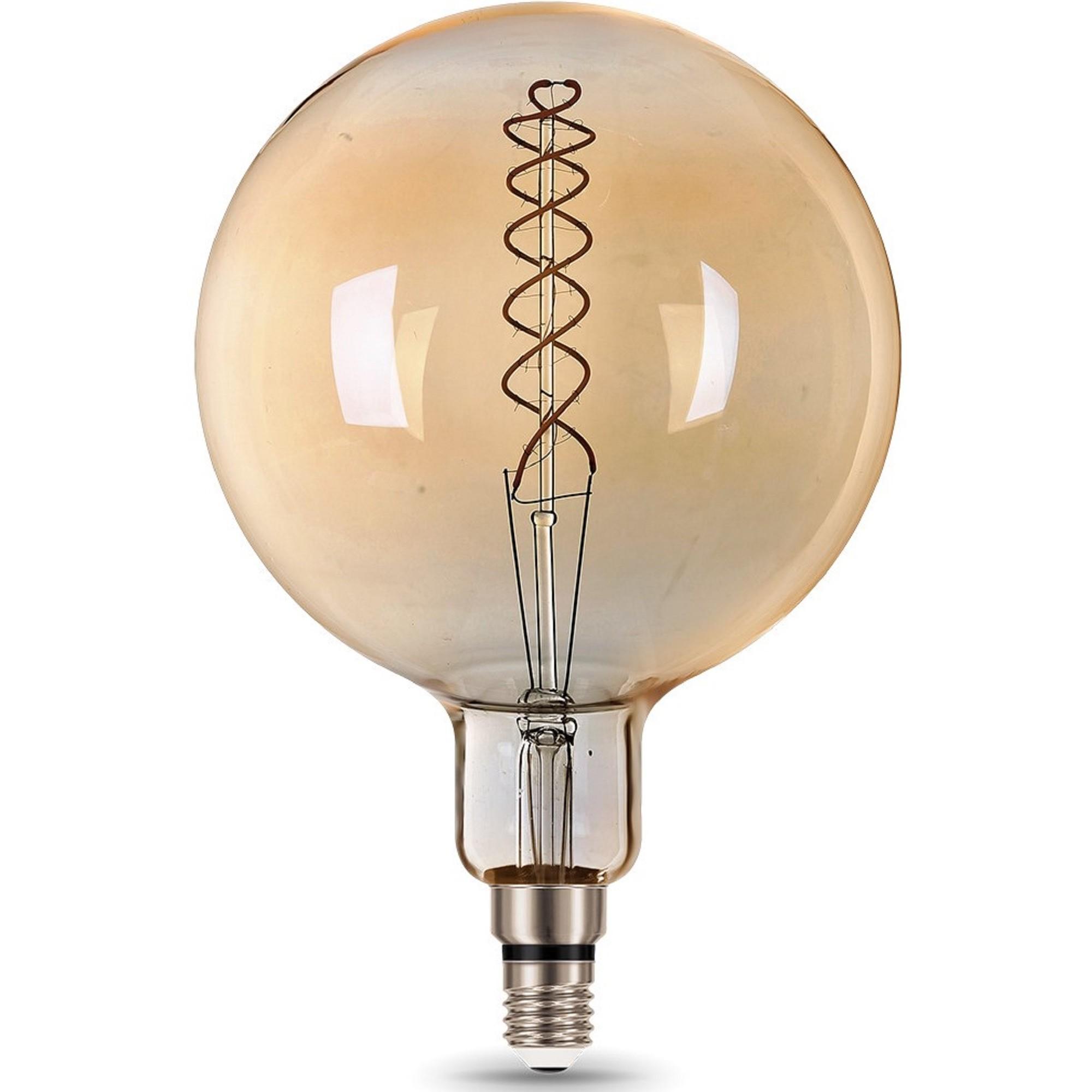 Лампа большая светодиодная Gauss Е27 8 Вт шар спираль свет тёплый золотая колба диаметр 20 см
