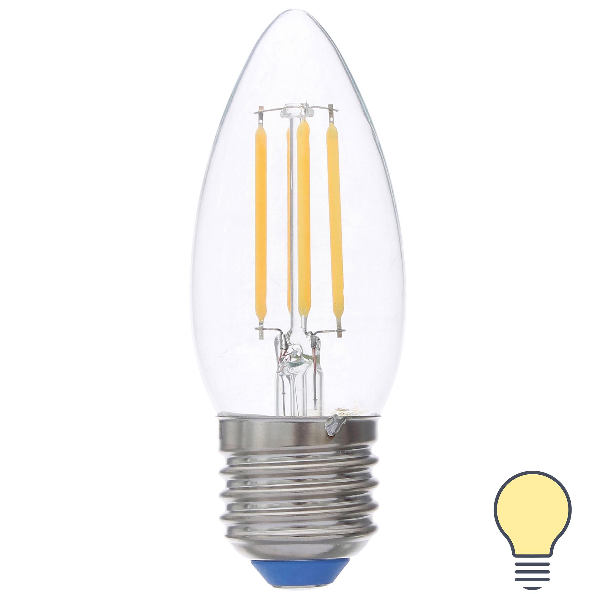 Лампа светодиодная филаментная Airdim форма свеча E27 5 Вт 500 Лм свет тёплый
