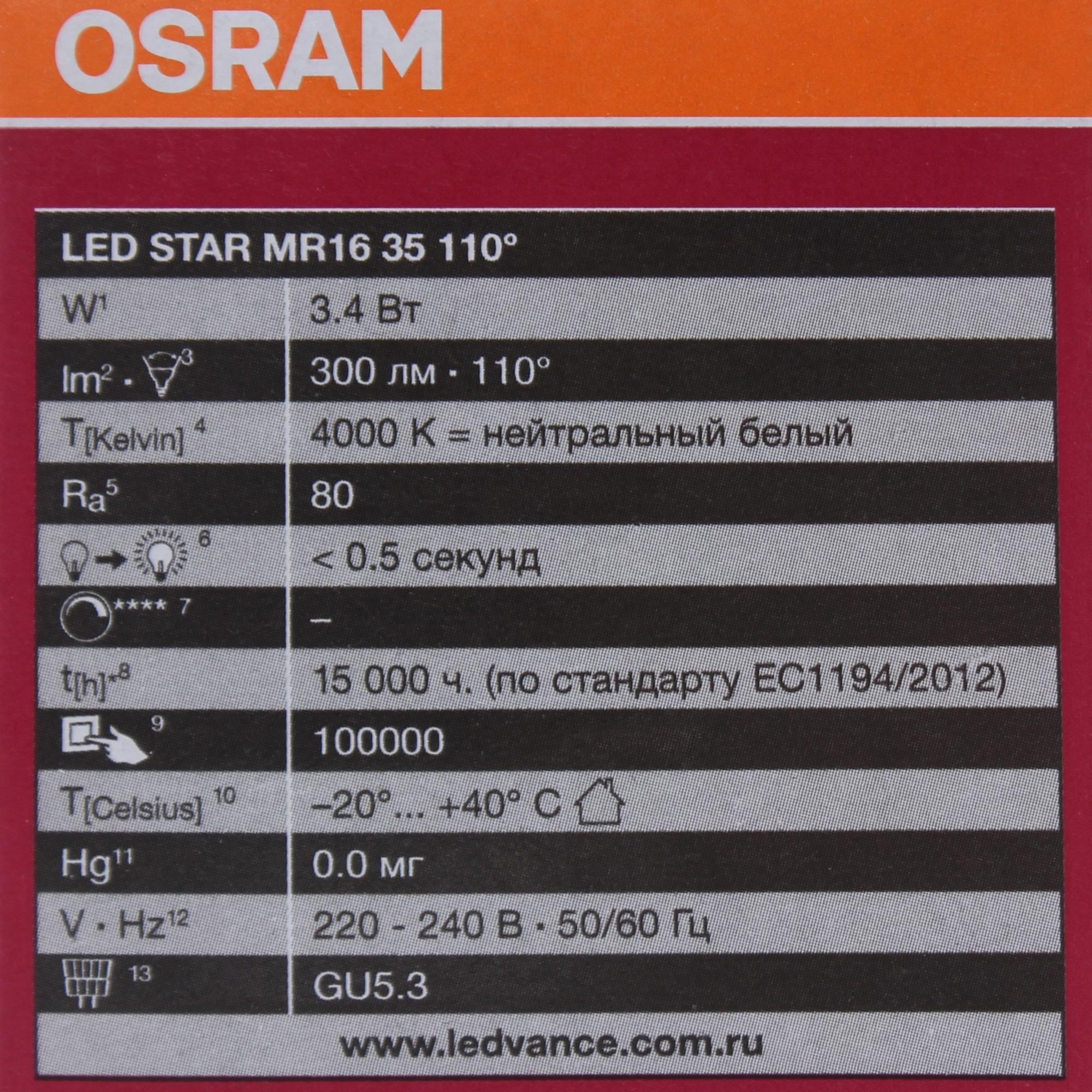 Лампа светодиодная Osram GU5.3 3.4 Вт 300 Лм свет холодный белый матовая колба