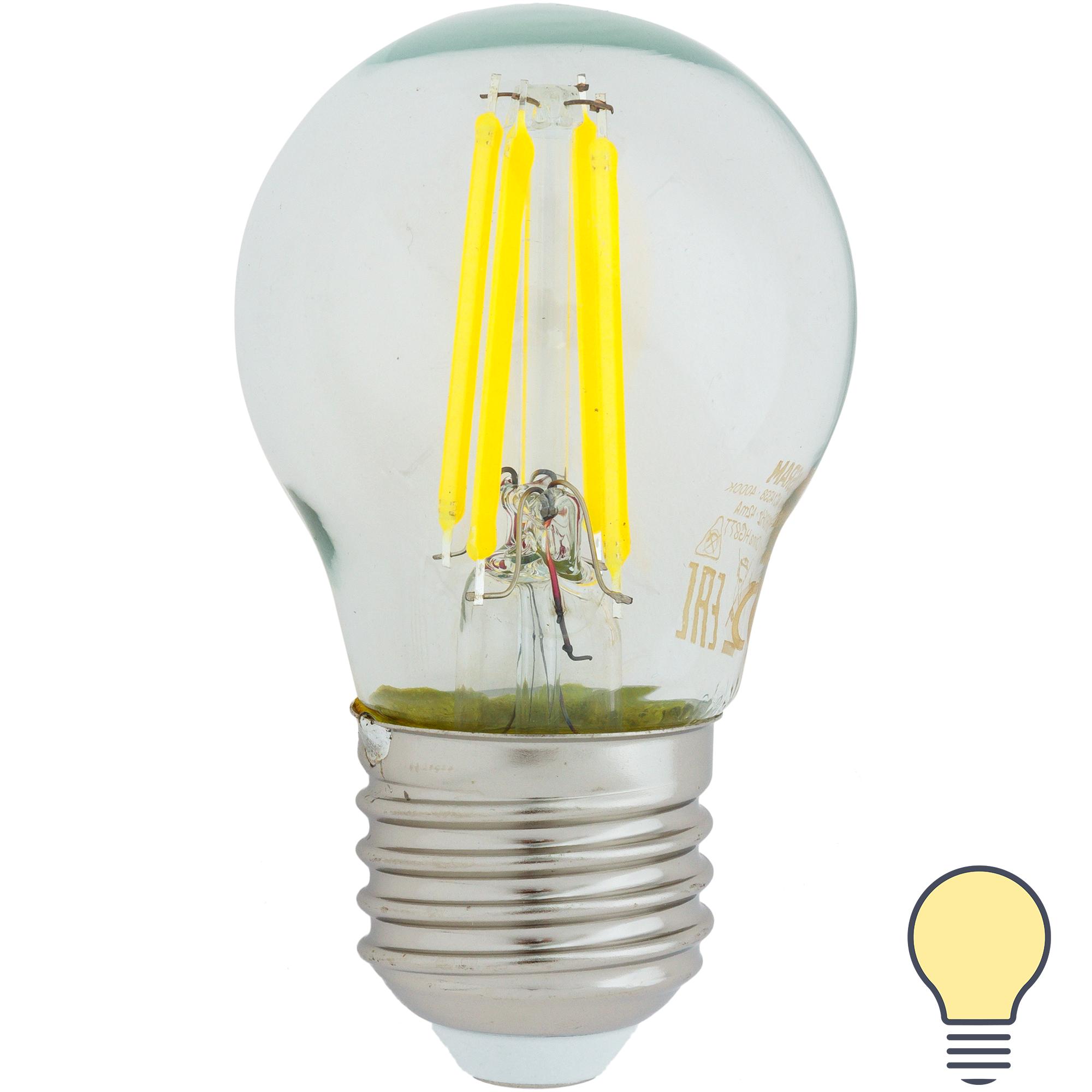 Лампа светодиодная Osram E27 220 В 5 Вт шар 600 лм тёплый белый свет