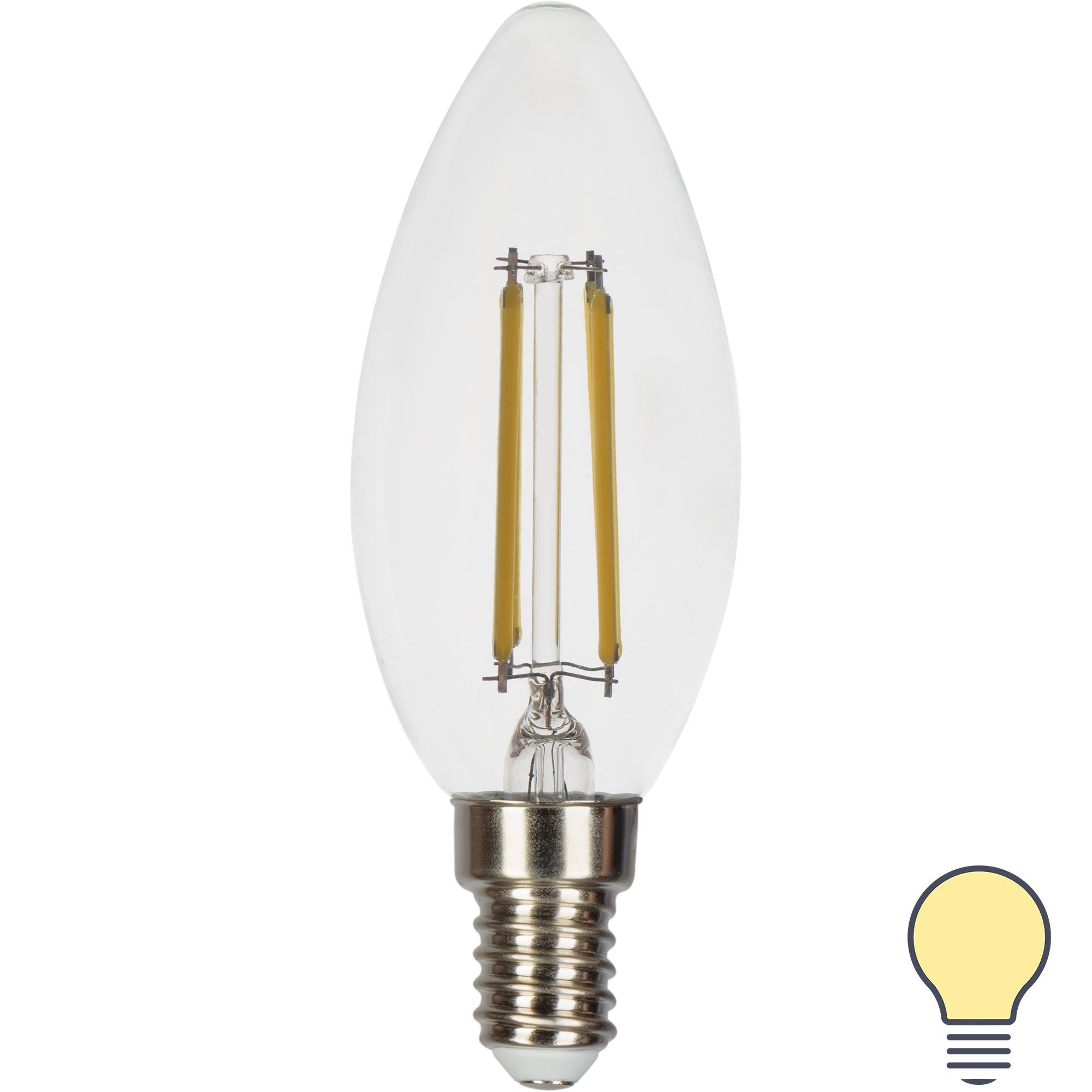 Лампа светодиодная Gauss LED Filament E14 11 Вт свеча прозрачная 720 лм тёплый белый свет
