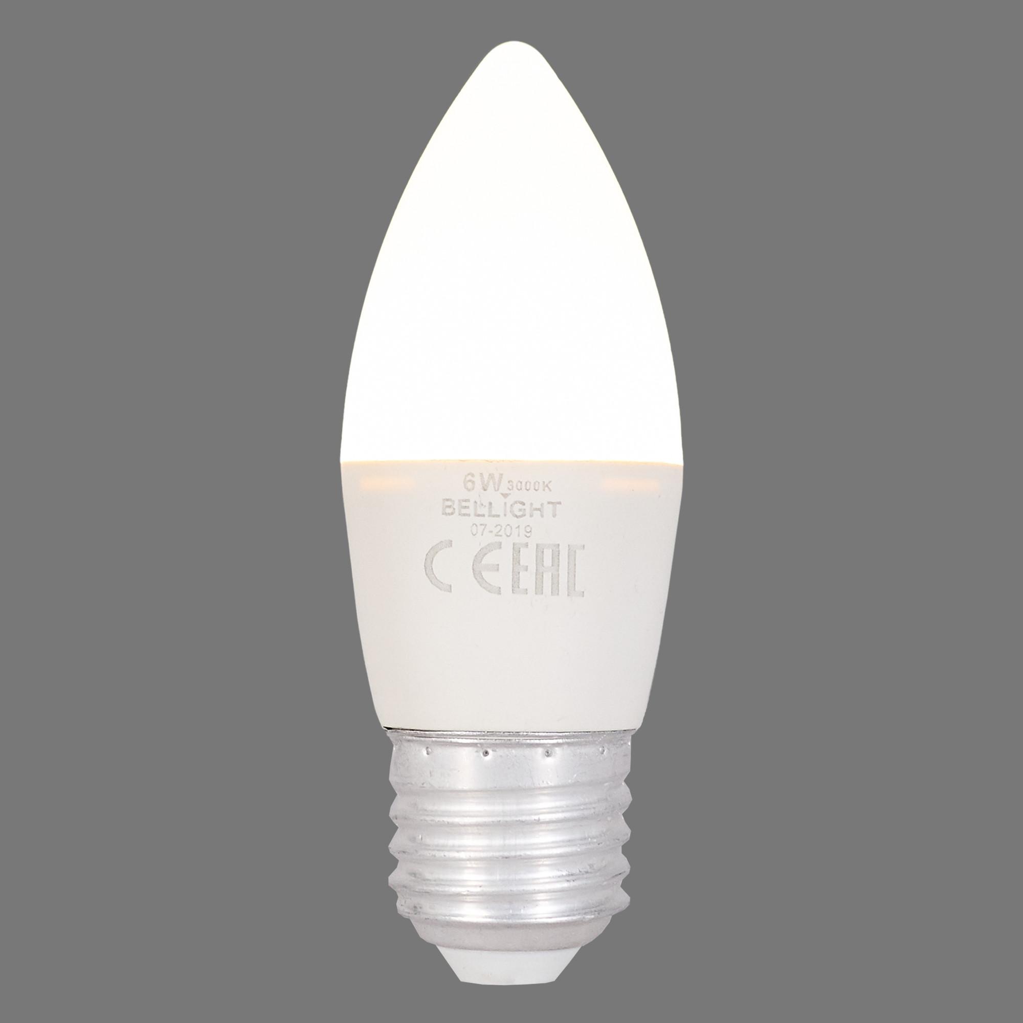 Лампа светодиодная Bellight E27 220-240 В 6 Вт свеча 480 лм тёплый белый свет