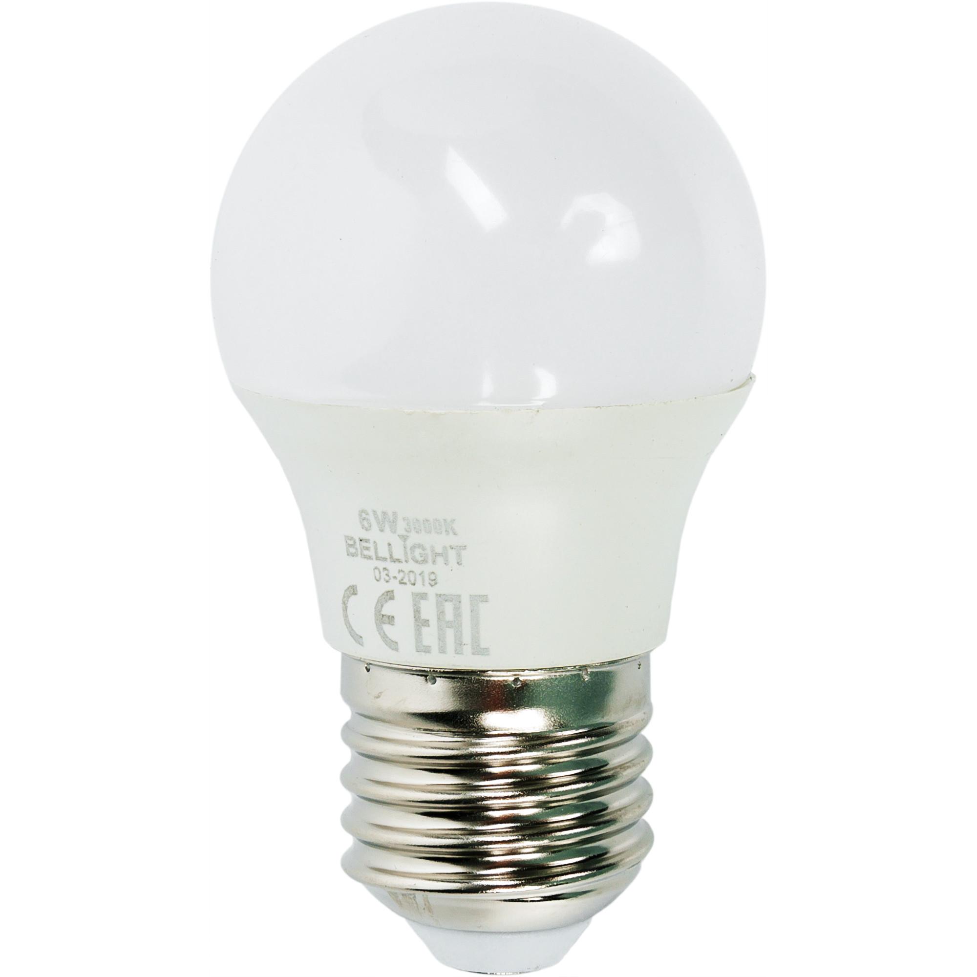 Лампа светодиодная Bellight E27 220-240 В 6 Вт шар 480 лм тёплый белый свет
