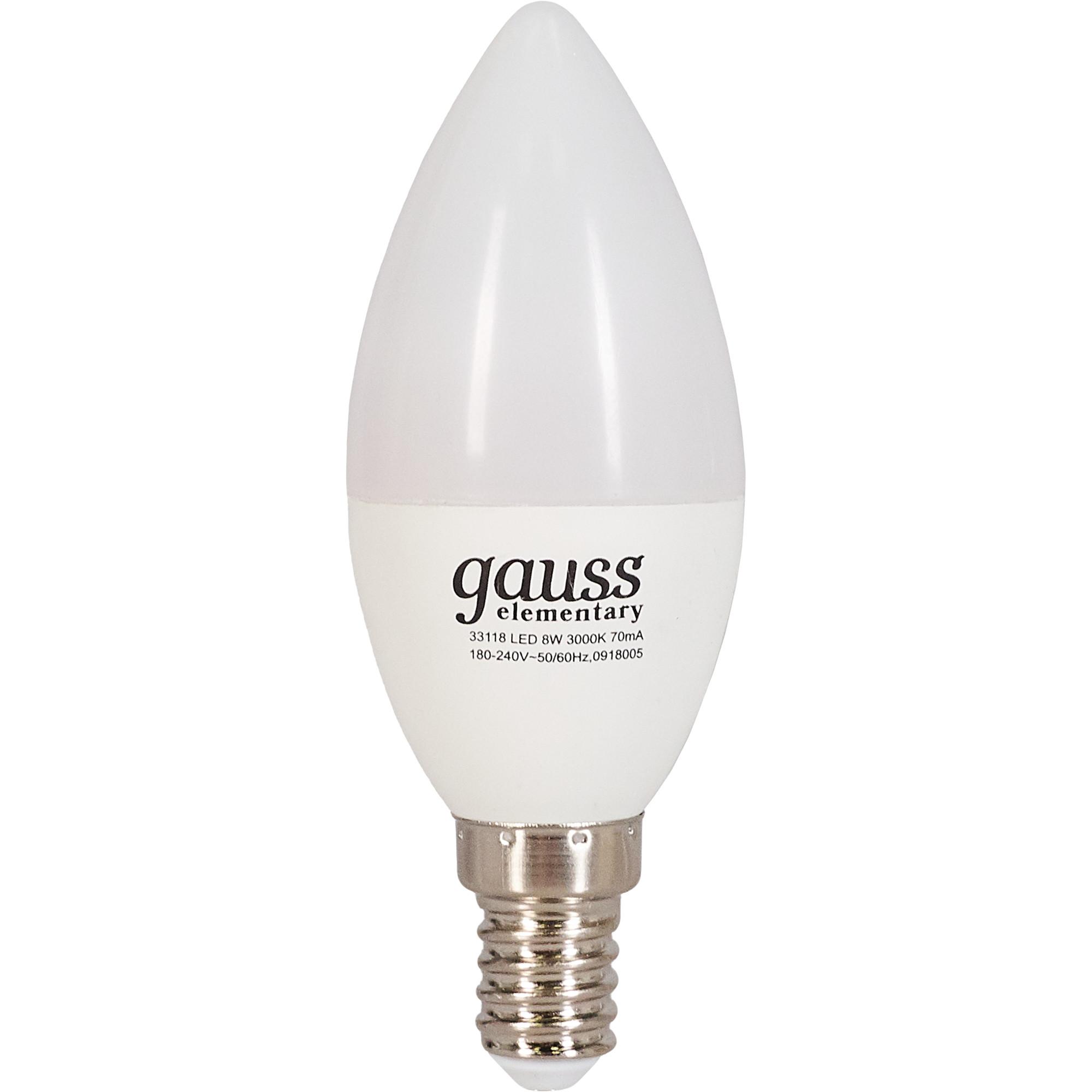Лампа светодиодная Elementary E14 220 В 8 Вт свеча матовая 520 лм тёплый белый свет