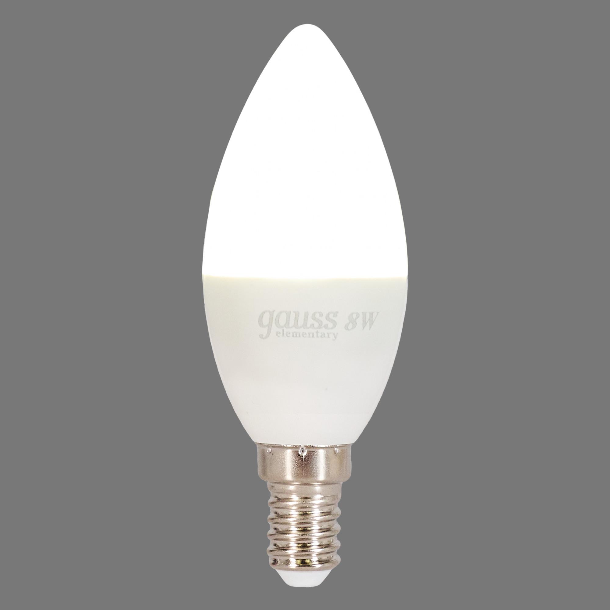 Лампа светодиодная Elementary E14 220 В 8 Вт свеча матовая 540 лм белый свет