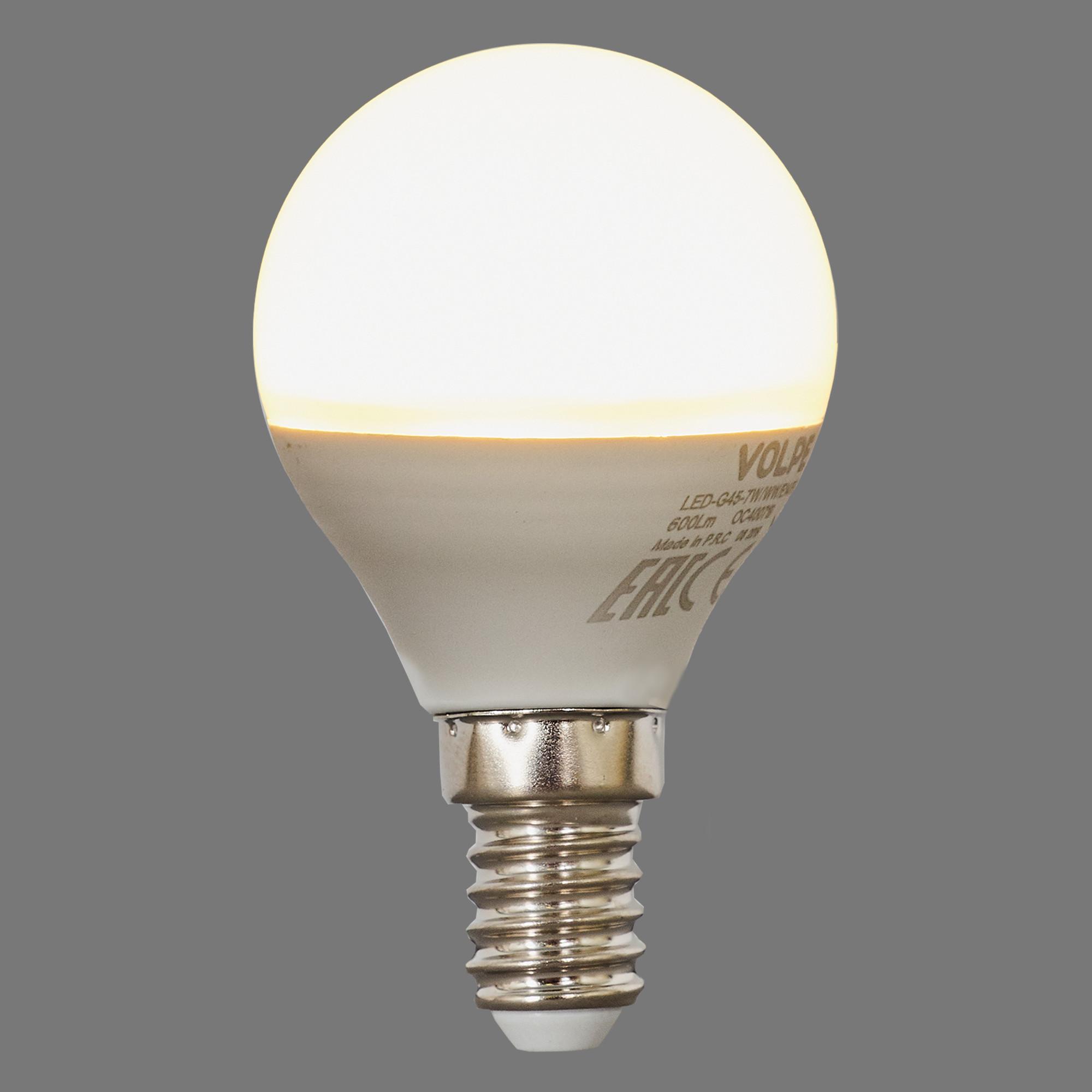 Лампа светодиодная Volpe Norma E14 220 В 7 Вт шар 600 лм тёплый белый свет