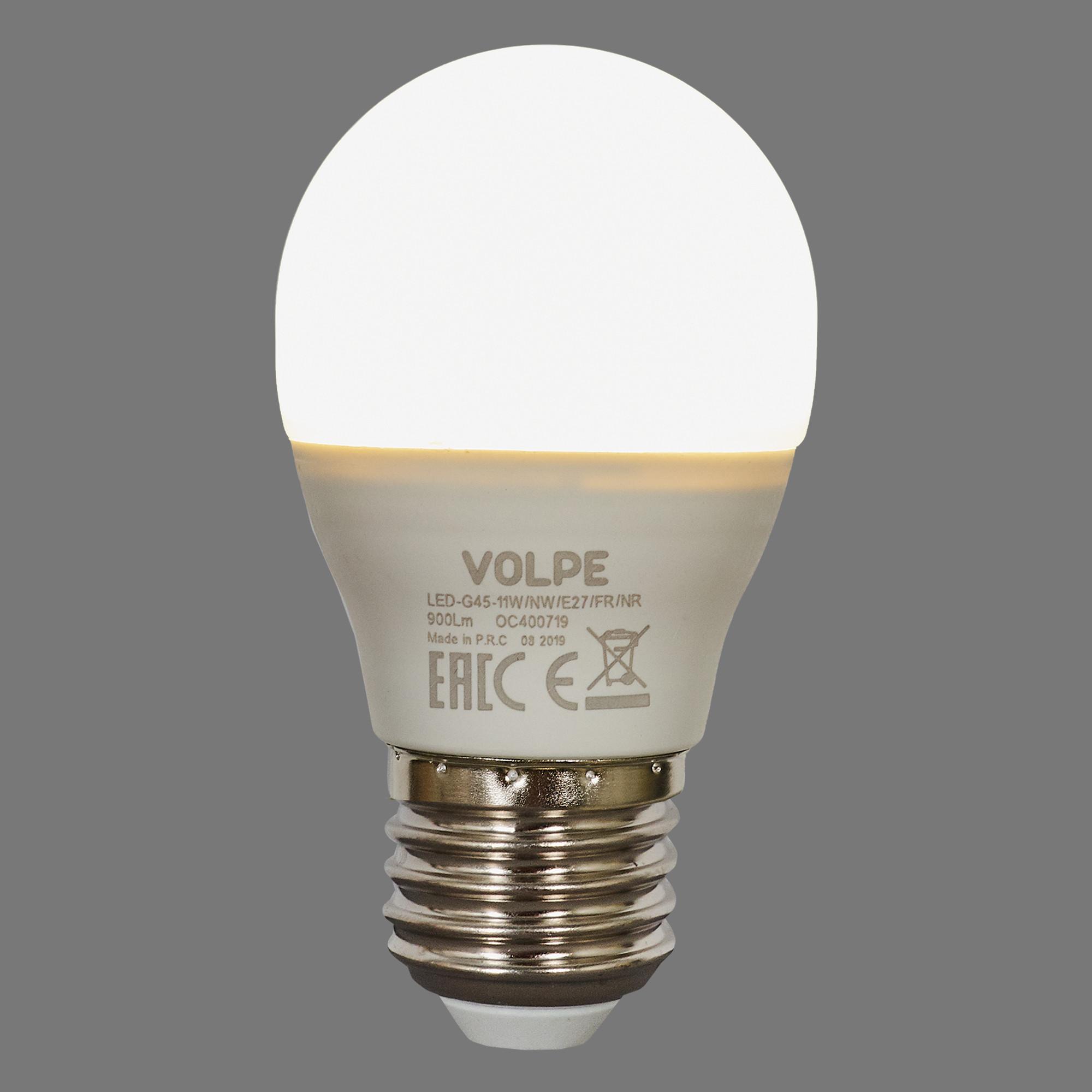 Лампа светодиодная Volpe Norma E27 220 В 11 Вт шар 900 лм белый свет