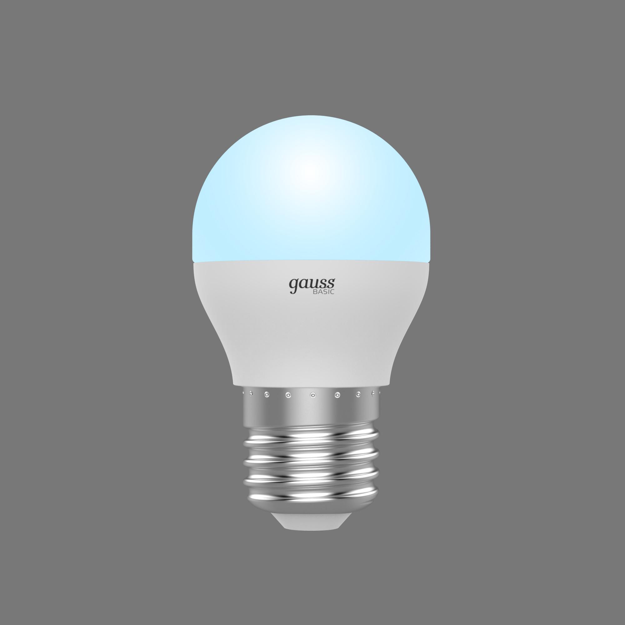 Лампа светодиодная Gauss Basic E27 220 В 7.5 Вт шар 690 лм белый свет