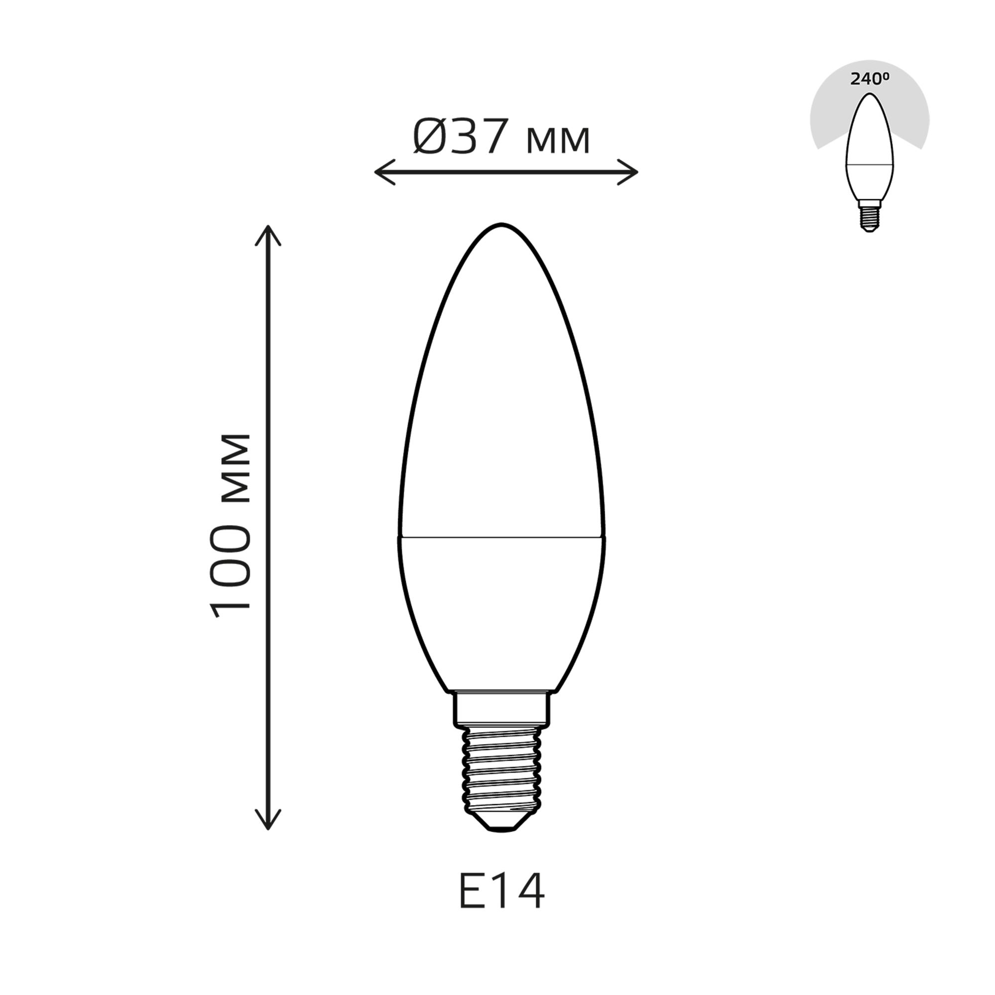 Лампа светодиодная Gauss E14 220 В 5.5 Вт свеча 420 лм белый свет