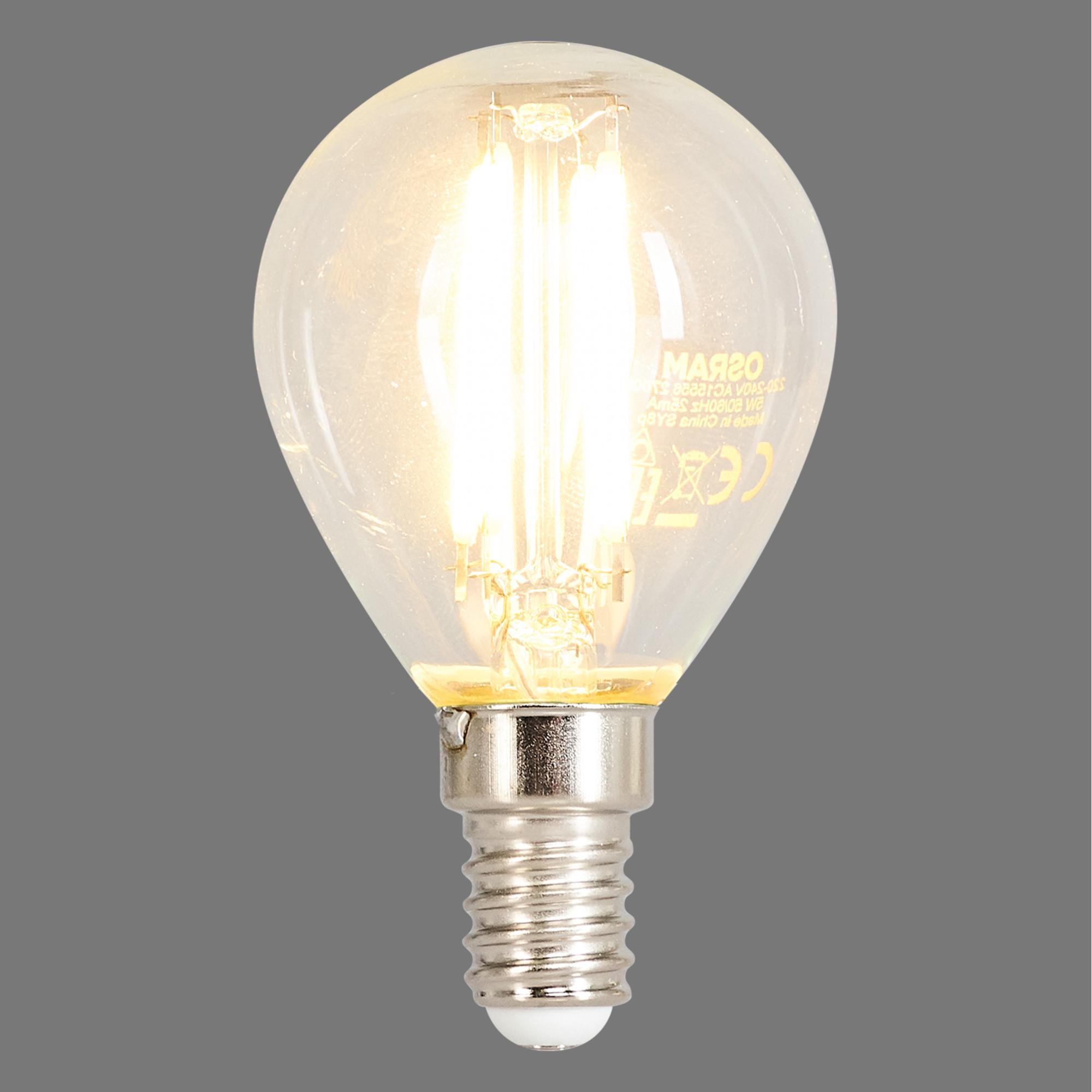 Лампа светодиодная филаментная Osram E14 220 В 5 Вт шар прозрачная 520 лм тёплый белый свет для диммера