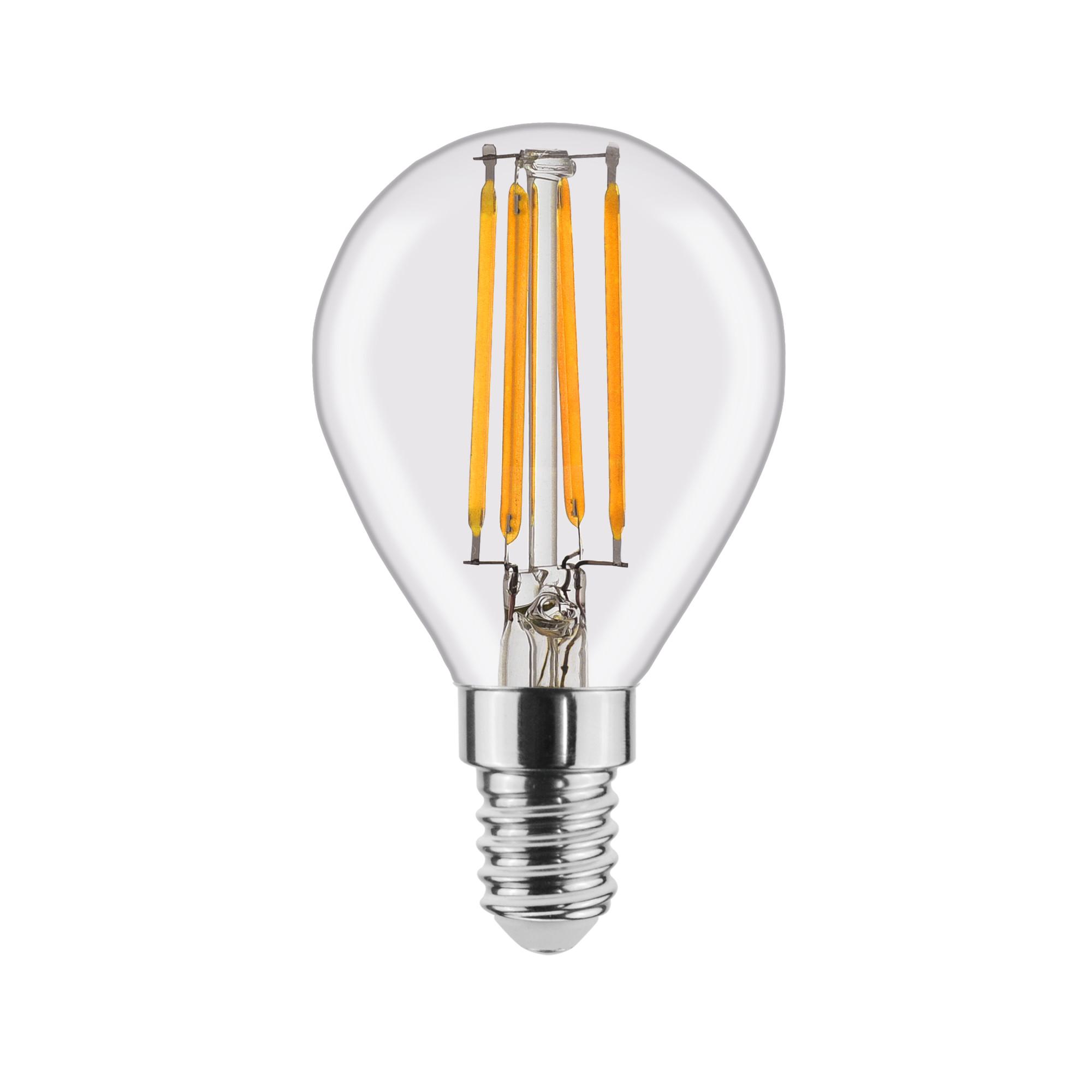 Лампа светодиодная филаментная Lexman E14 220 В 4.5 Вт шар прозрачный 470 лм тёплый белый свет