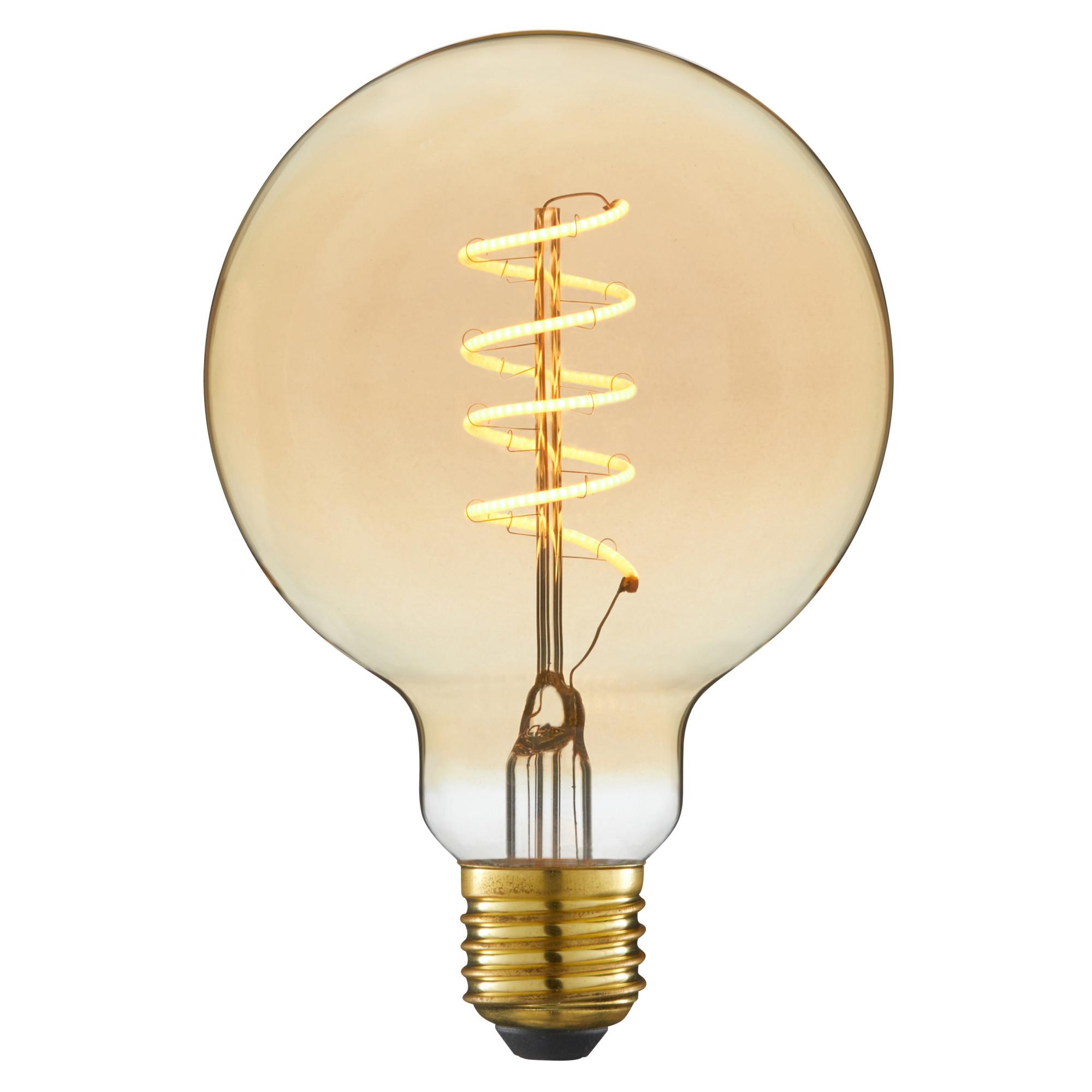 Лампа светодиодная филаментная Lexman E27 220 В 6 Вт шар янтарный 400 лм жёлтый свет
