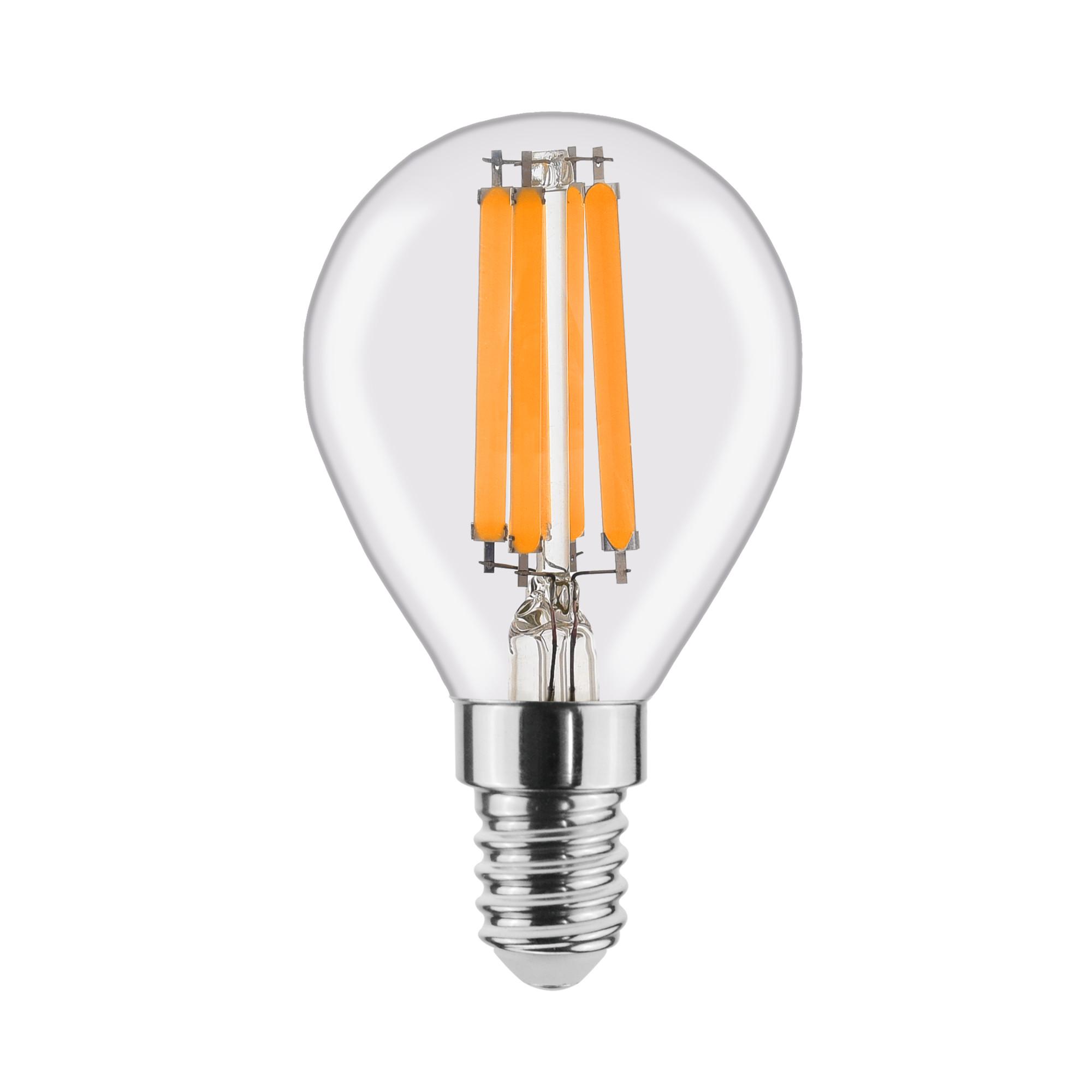 Лампа светодиодная филаментная Lexman E14 220 В 6 Вт шар прозрачный 806 лм тёплый белый свет