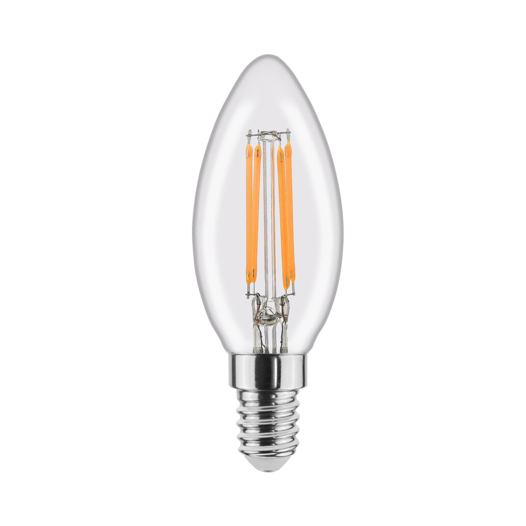 Лампа светодиодная филаментная Lexman E14 220 В 4.5 Вт свеча прозрачная 470 лм белый свет