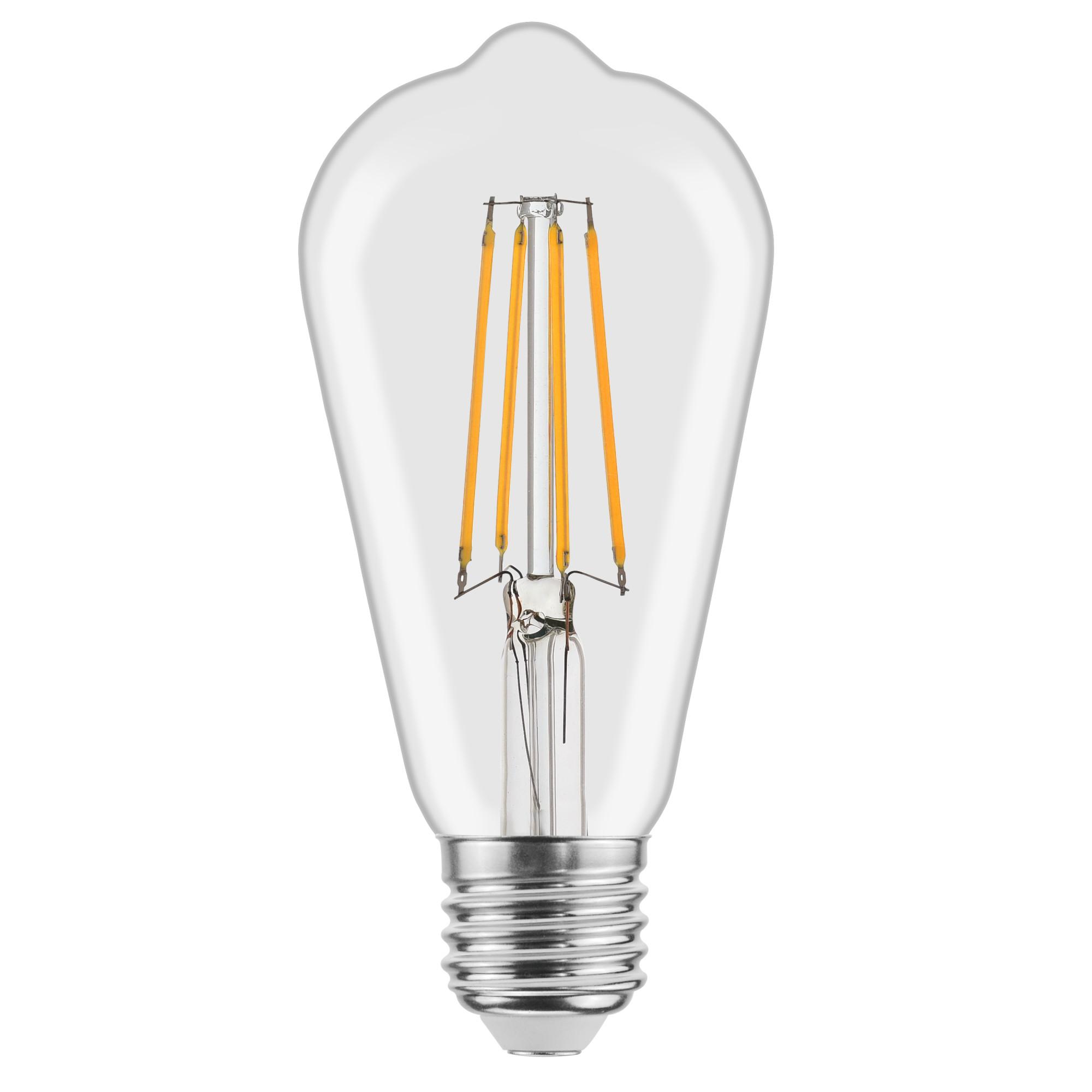 Лампа светодиодная филаментная Lexman E27 220 В 4.5 Вт груша прозрачная 470 лм тёплый белый свет