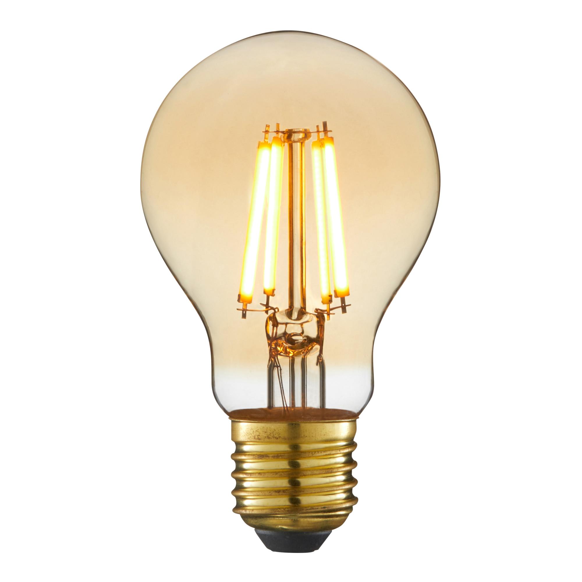 Лампа светодиодная филаментная Lexman E27 220 В 5 Вт груша янтарная 470 лм жёлтый свет