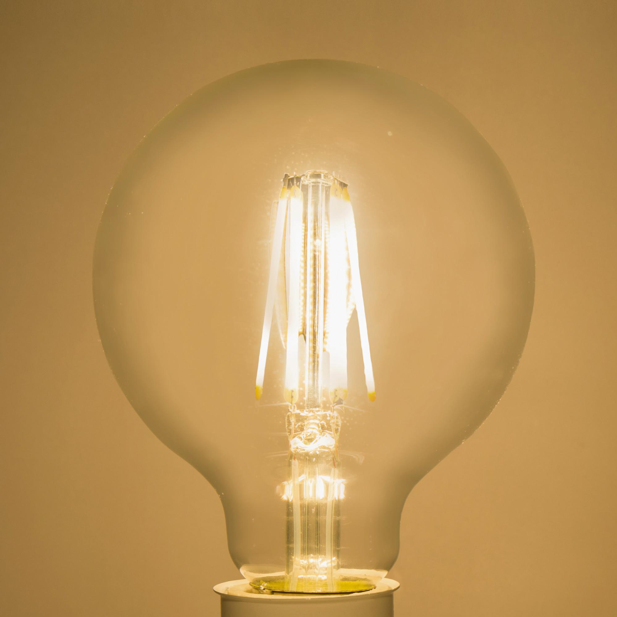 Лампа светодиодная филаментная Lexman E27 220 В 8.5 Вт шар прозрачный 1055 лм тёплый белый свет