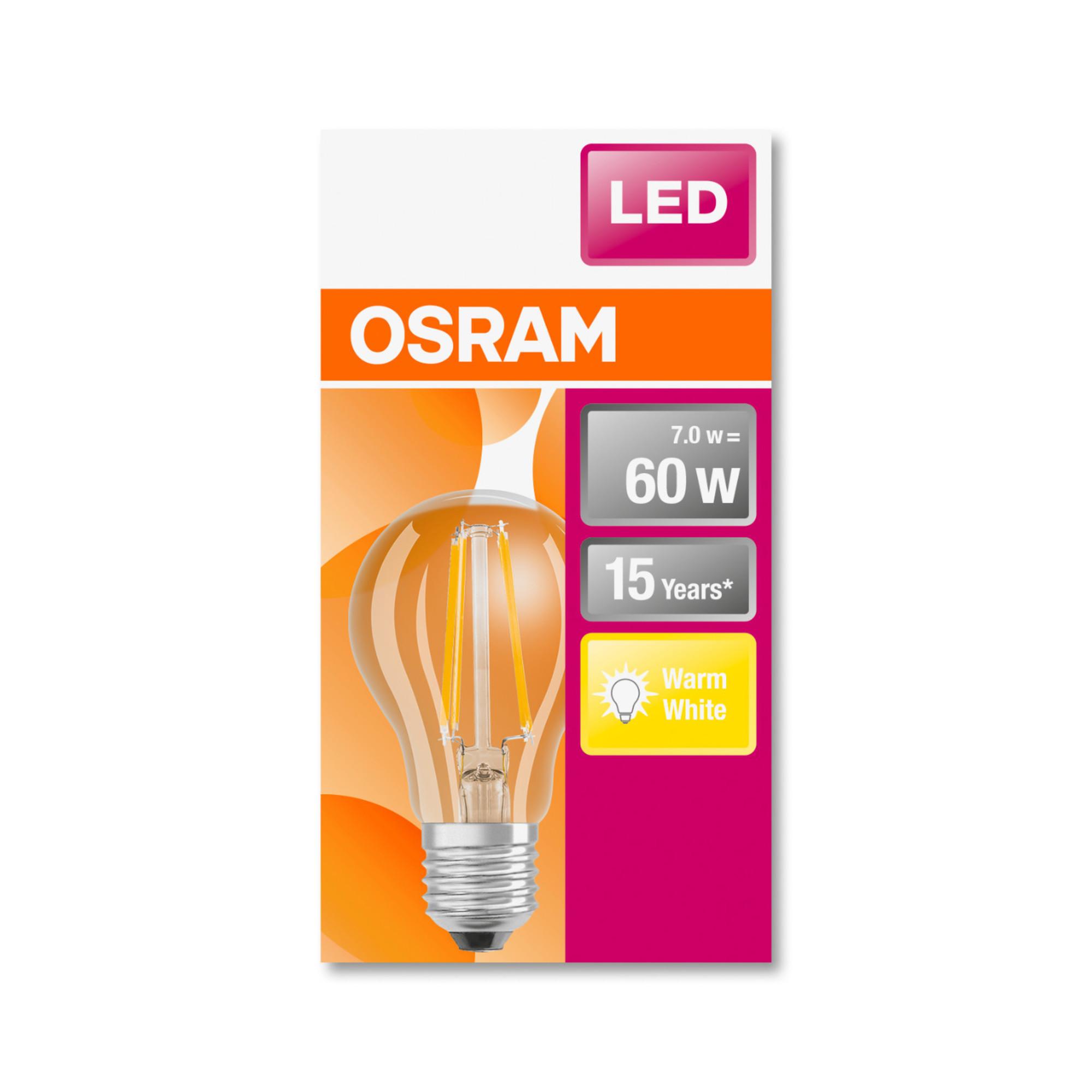 Лампа светодиодная Osram E27 220 В 7 Вт груша прозрачная 806 лм жёлтый свет