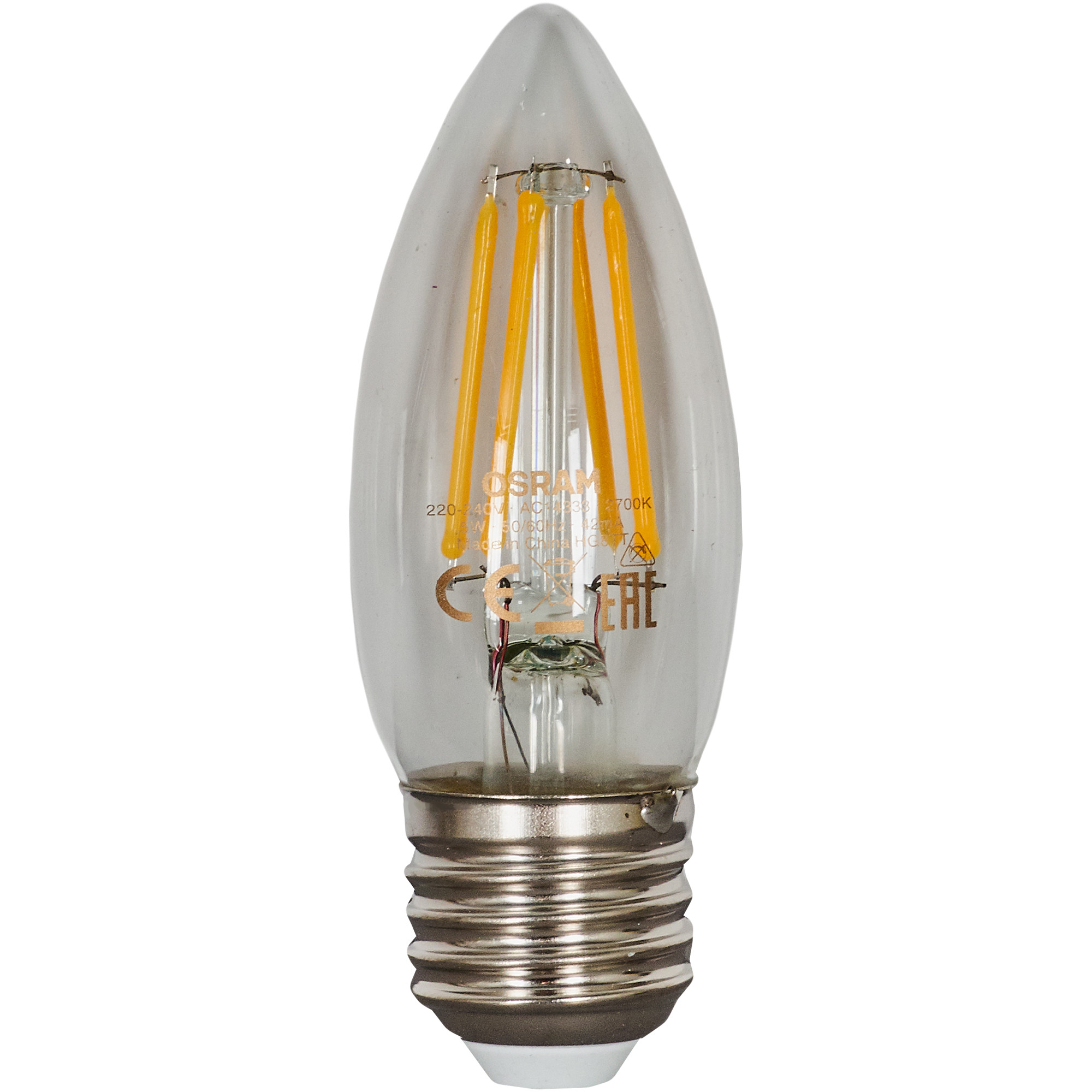 Лампа светодиодная Osram E27 220 В 5 Вт свеча прозрачная 660 лм тёплый белый свет