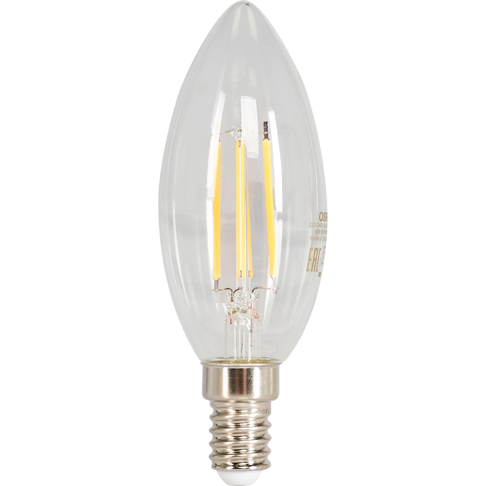 Лампа светодиодная Osram E14 220 В 6 Вт свеча прозрачная 800 лм белый свет