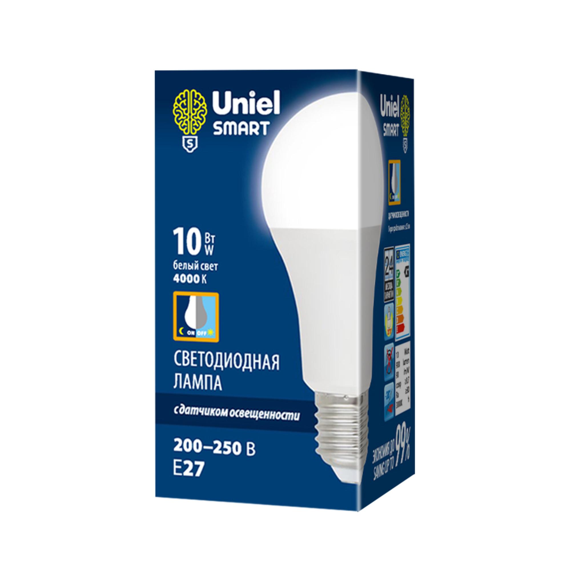 Лампа светодиодная с датчиком освещенности E27 Uniel Smart 200-250 В 10 Вт груша матовая 900 лм белый свет