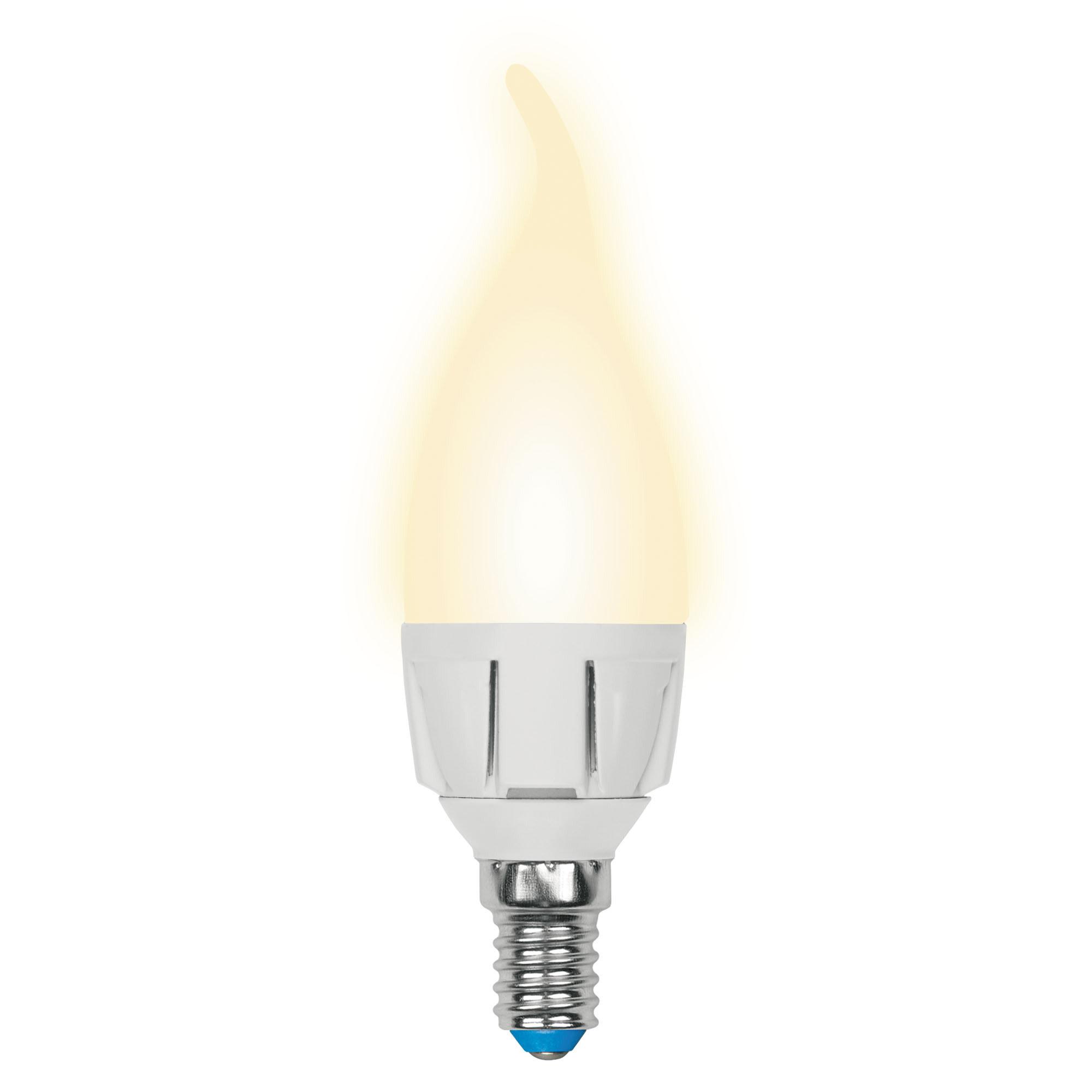 Лампа светодиодная «Яркая» E14 220 В 7 Вт свеча на ветру матовая 600 лм тёплый белый свет