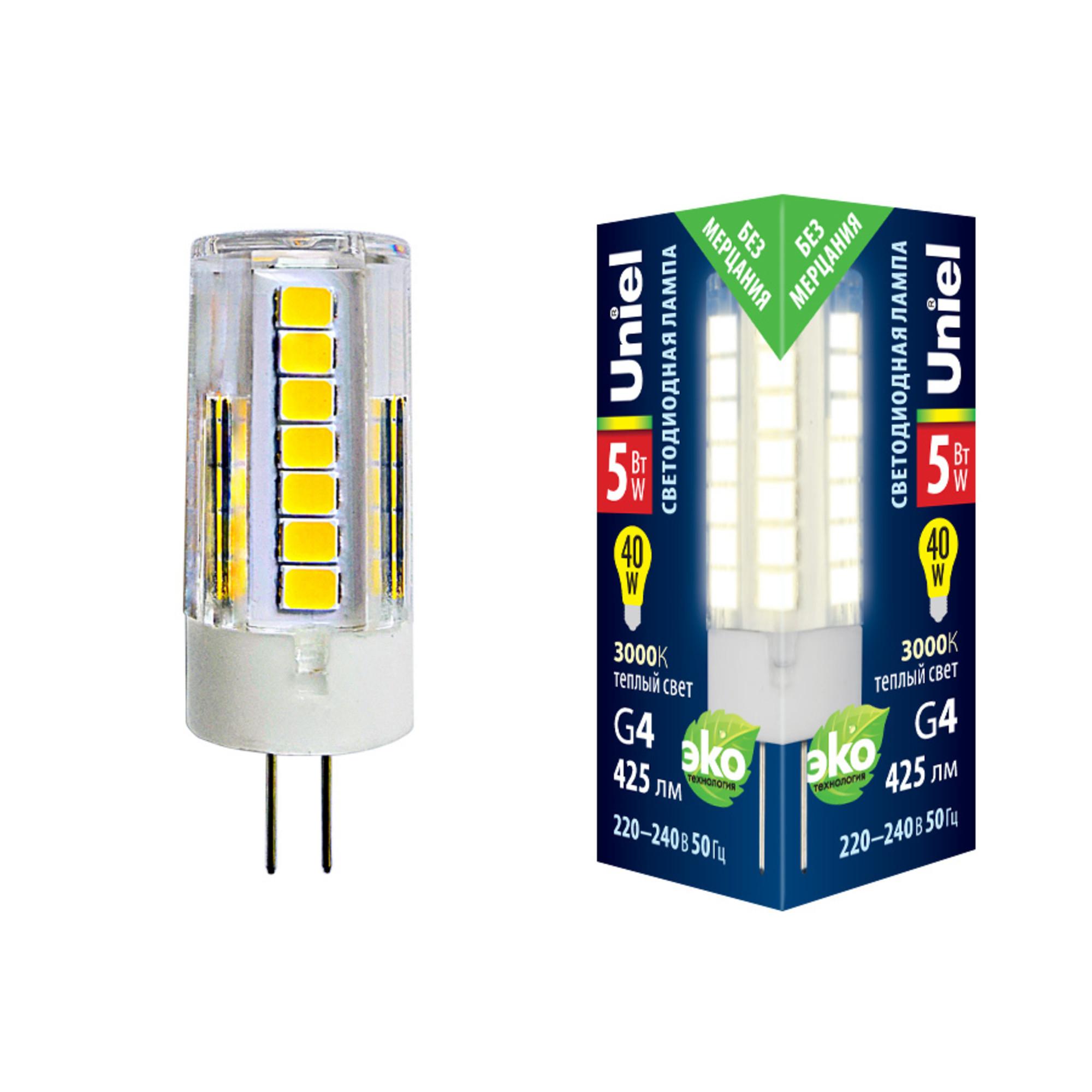 Лампа светодиодная G4 5 Вт капсула прозрачная 425 лм тёплый белый свет