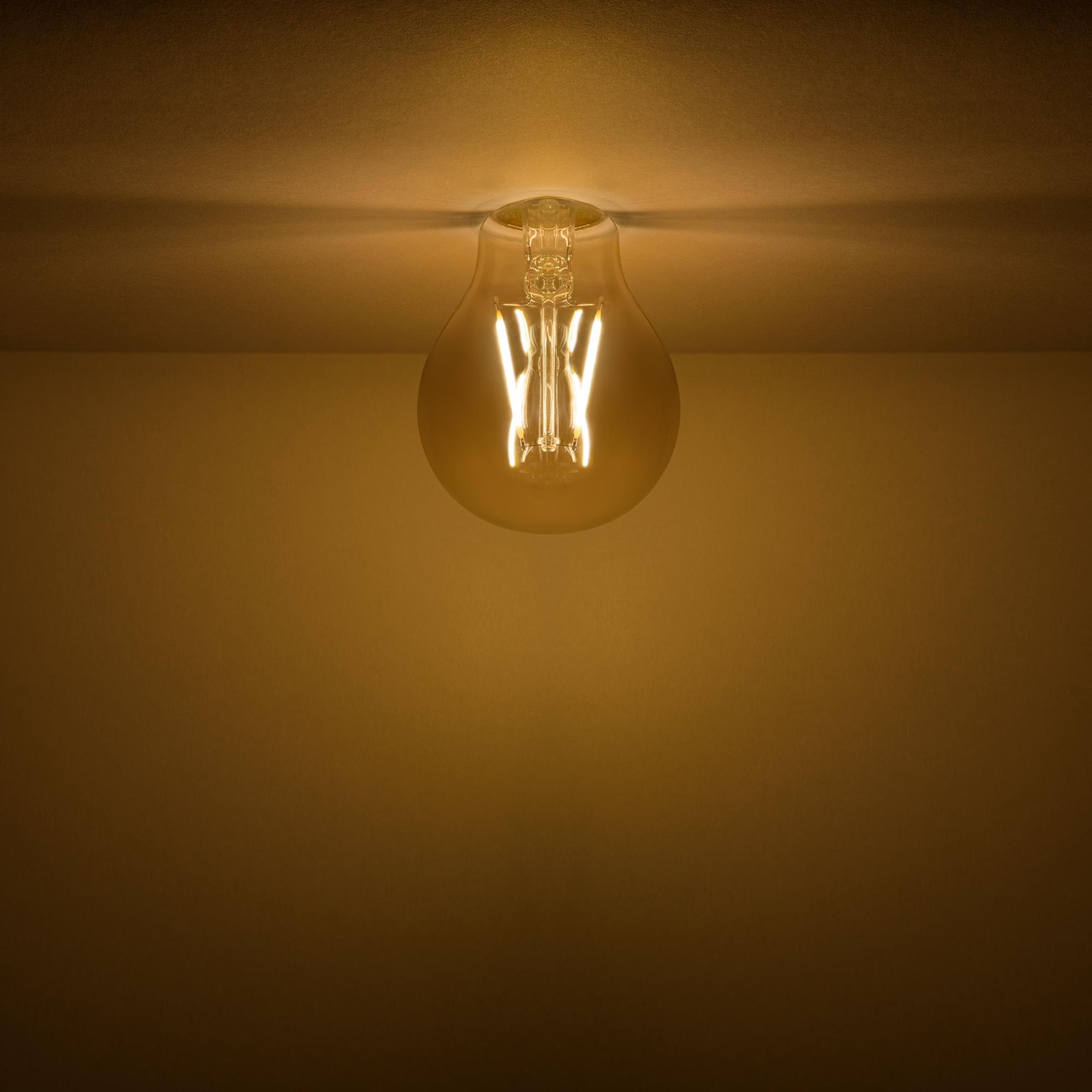 Лампа светодиодная филаментная Gauss Basic Golden A60 E27 230 В 3 Вт груша прозрачная с напылением 300 лм тёплый белый свет