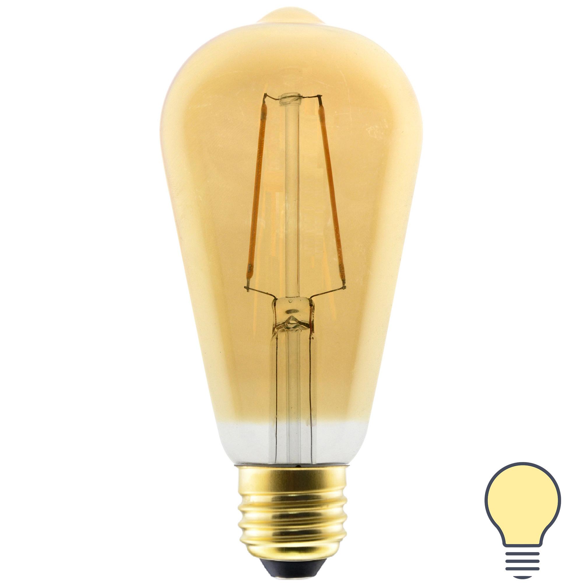 Лампа светодиодная филаментная Gauss Basic ST64 Golden E27 230 В 3 Вт груша прозрачная с напылением 300 лм тёплый белый свет