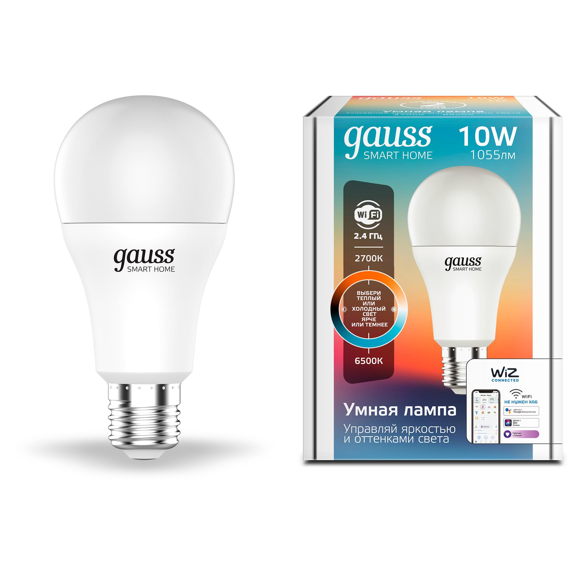 Лампа умная светодиодная Gauss E27 220 В 10 Вт груша матовая 1055 лм регулируемый цвет света для диммера