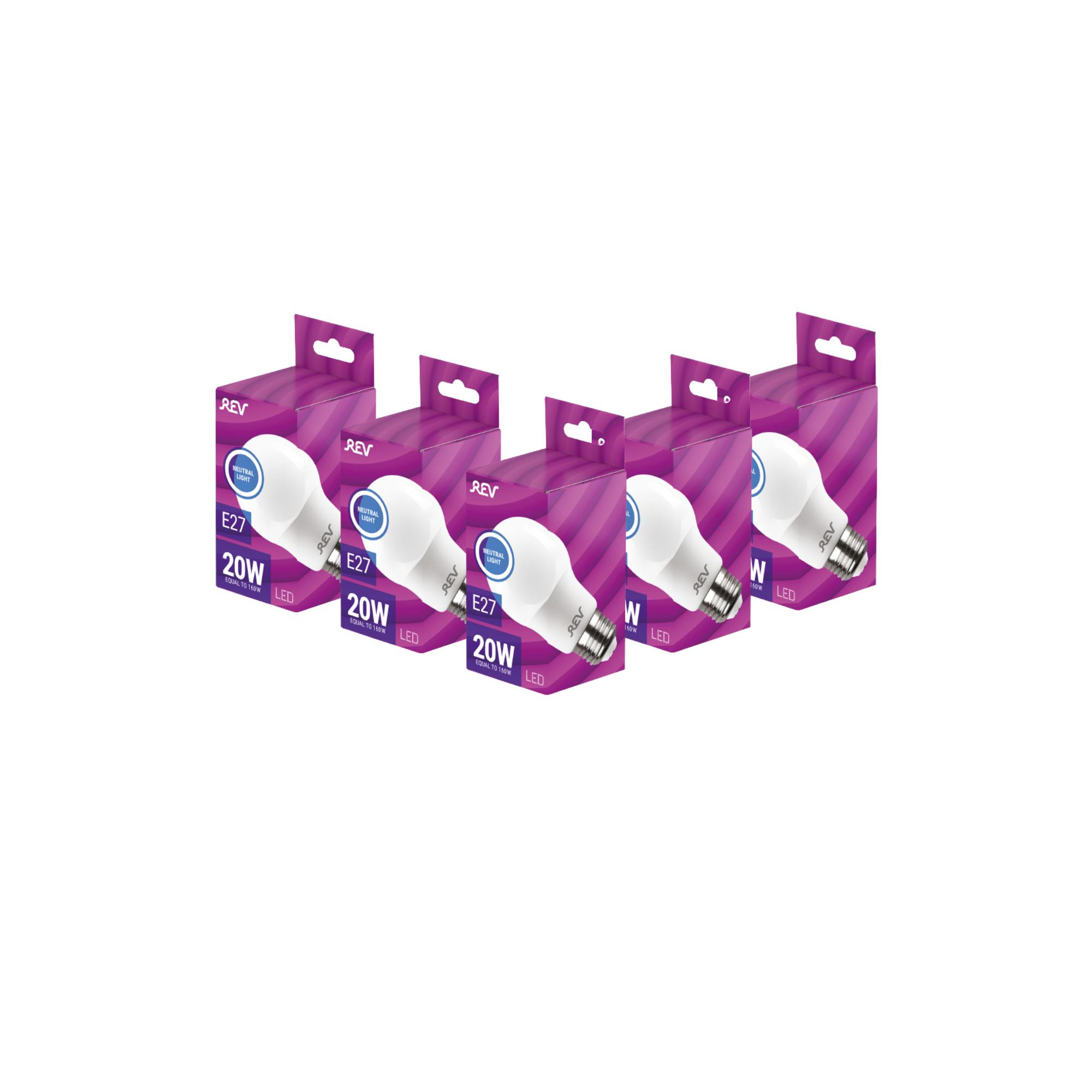 Лампа светодиодная (комплект 5 шт.) REV A60 Е27 20W 4000K 32405 8