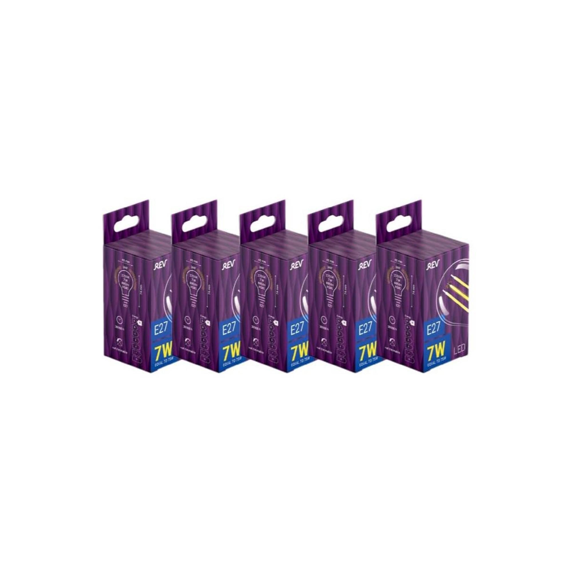 Лампа светодиодная (комплект 5 шт.) REV FILAMENT G45 E27 7W 2700K DECO Premium 32443 0