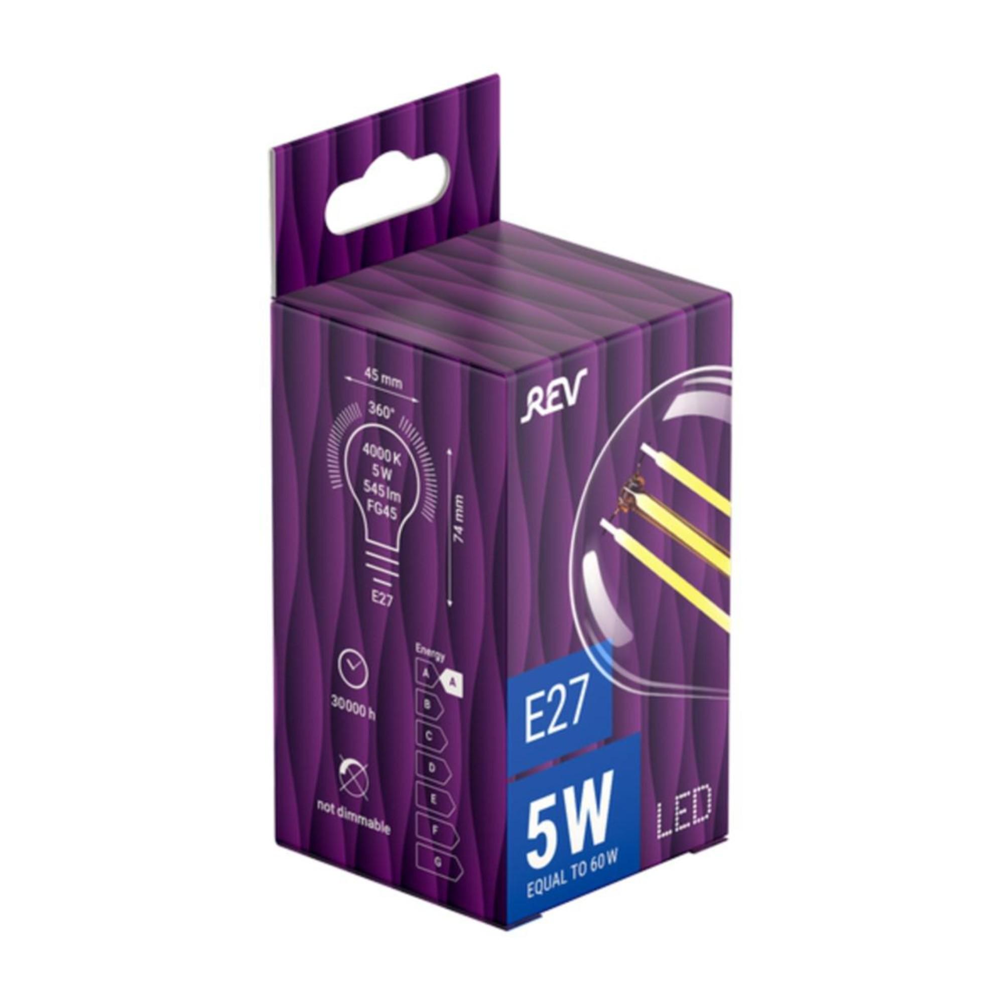 Лампа светодиодная (комплект 5 шт.) REV FILAMENT G45 E27 5W 4000K DECO Premium 32484 3