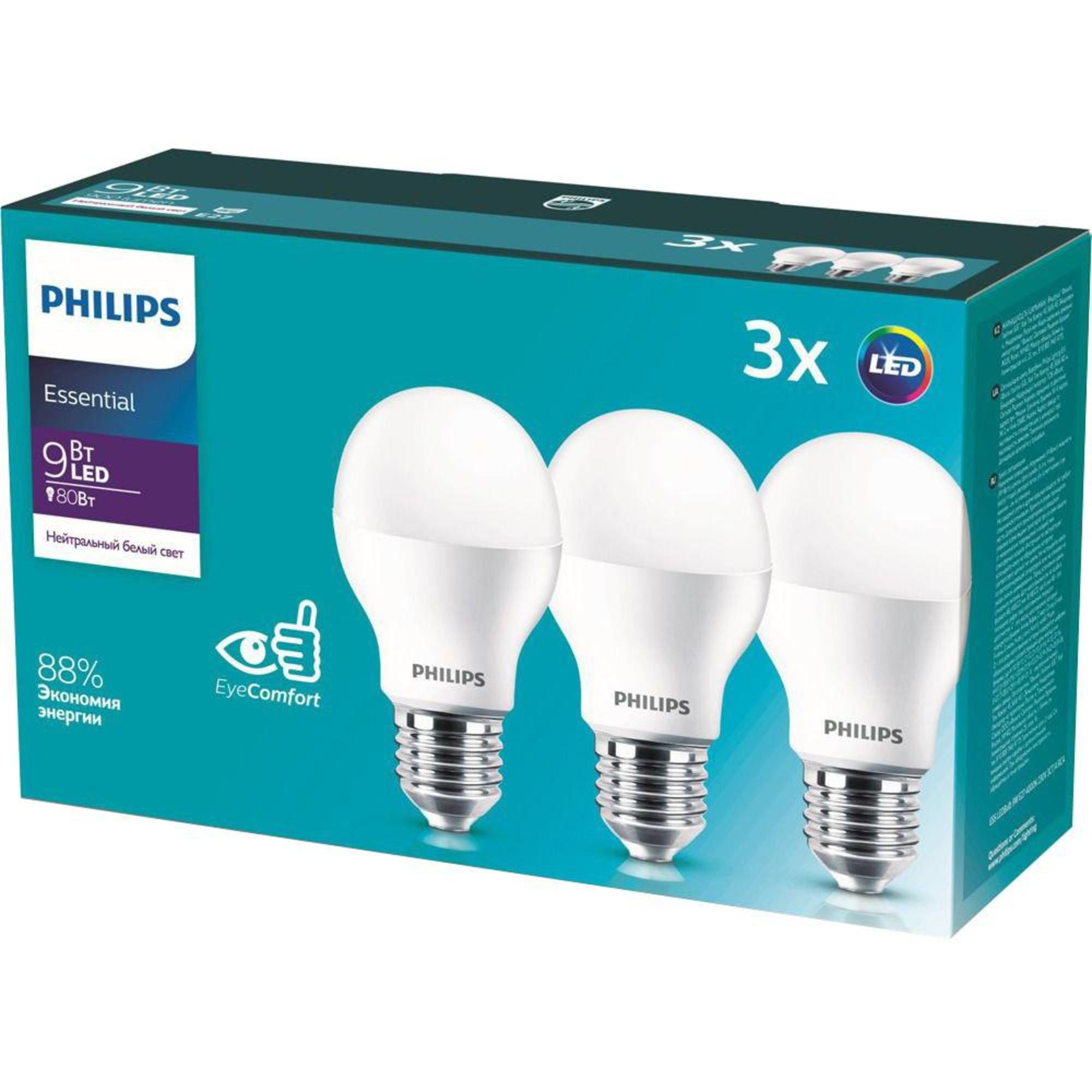 Лампа Philips Essential светодионая E27 9 Вт груша 900 Лм нейтральный свет