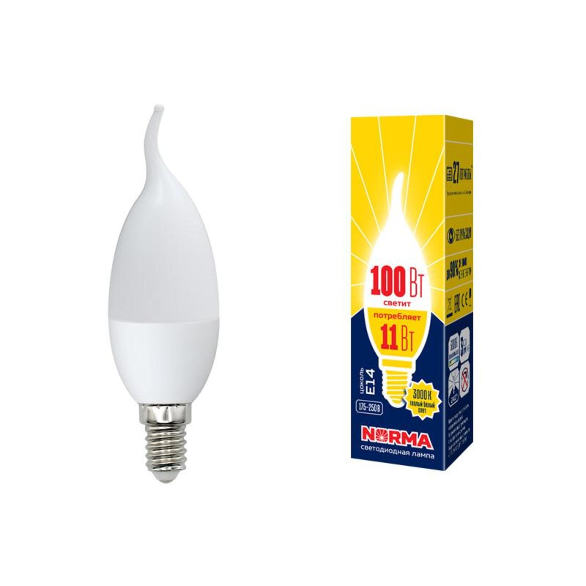 Лампа Volpe светодиодная E14 11 Вт теплый свет