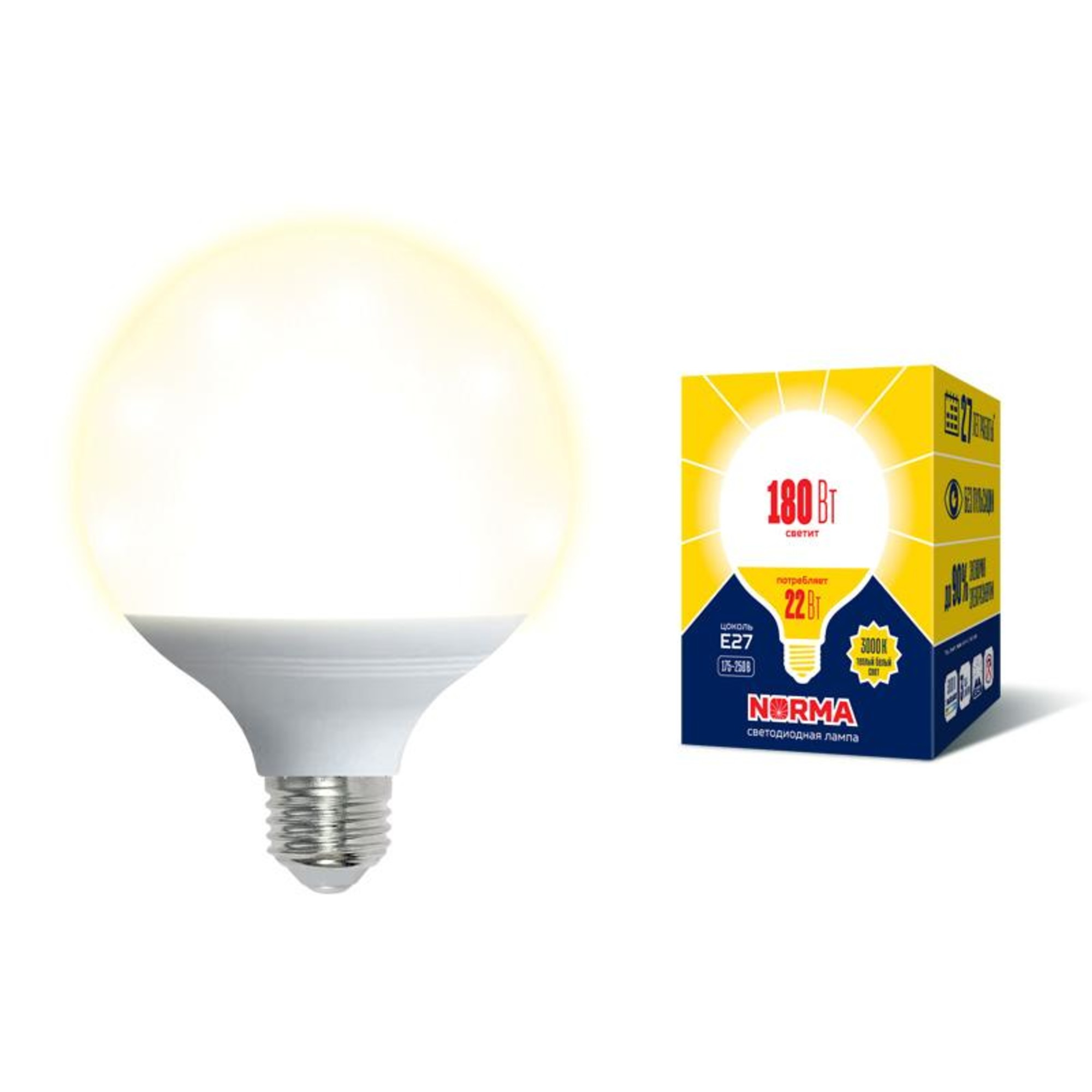 Лампа Volpe светодиодная E27 22 Вт теплый свет