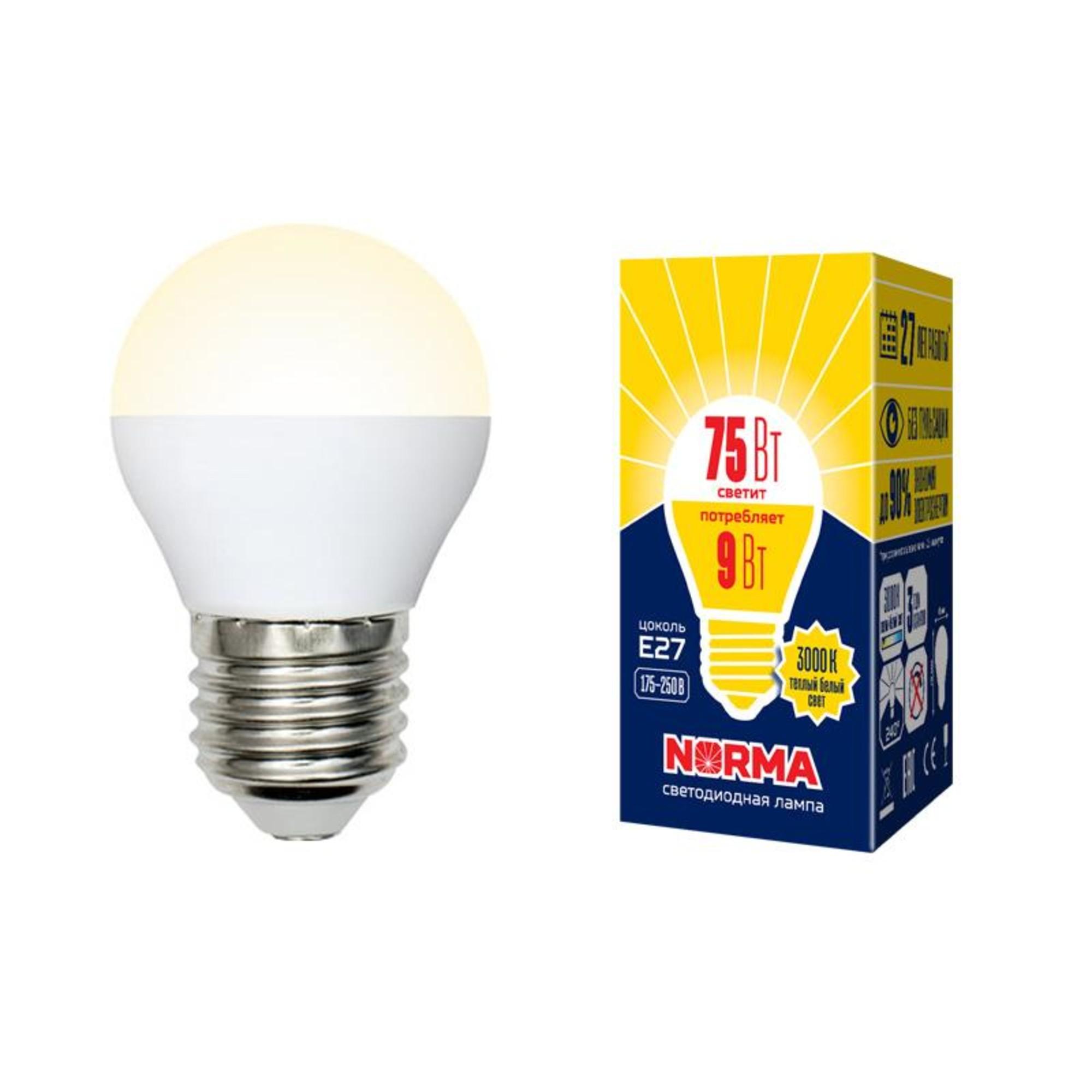 Лампа Volpe светодиодная E27 9 Вт теплый свет
