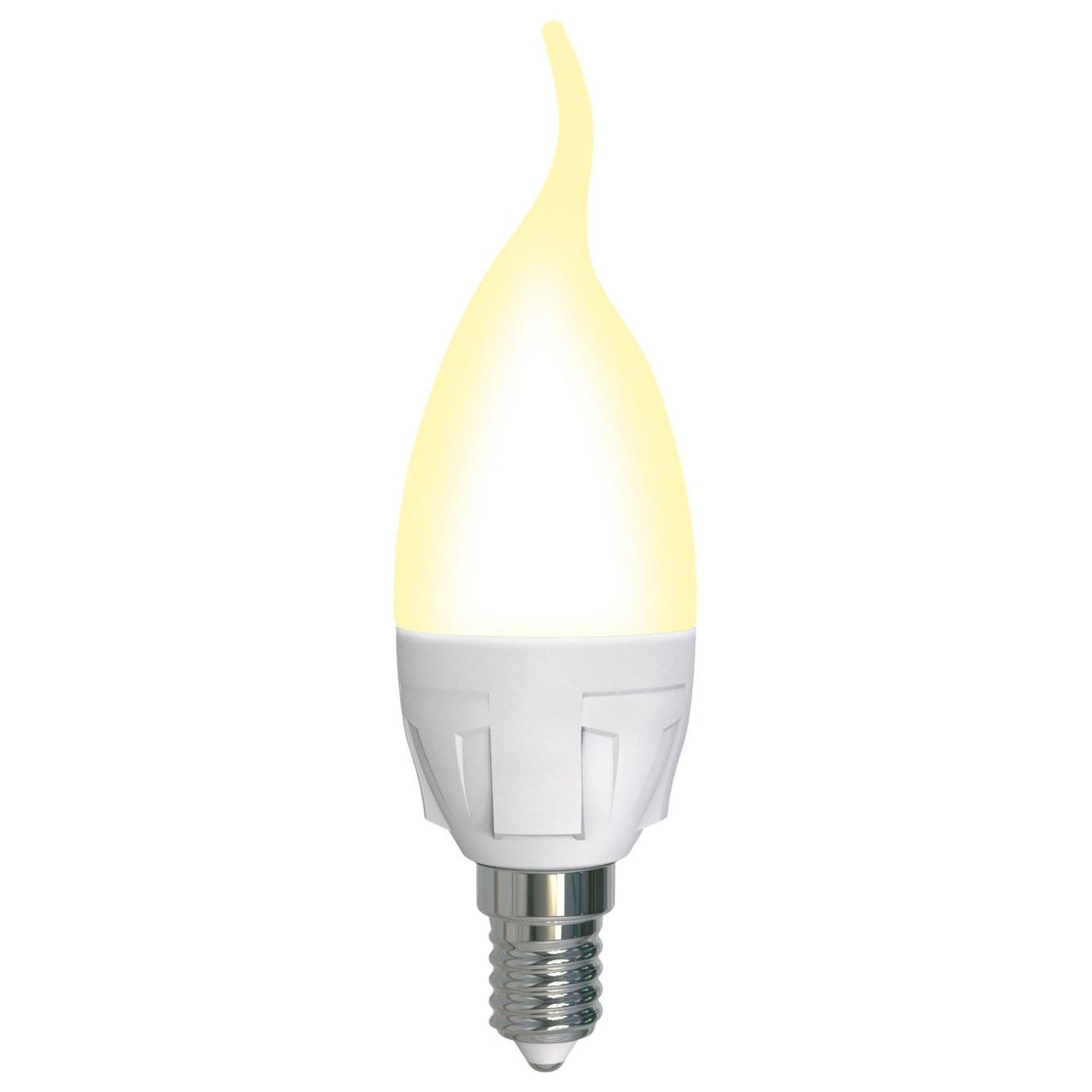 Лампа светодиодная Uniel Яркая Dimmable E14 свеча на ветру 600 Лм 7 Вт теплый белый (желтый)
