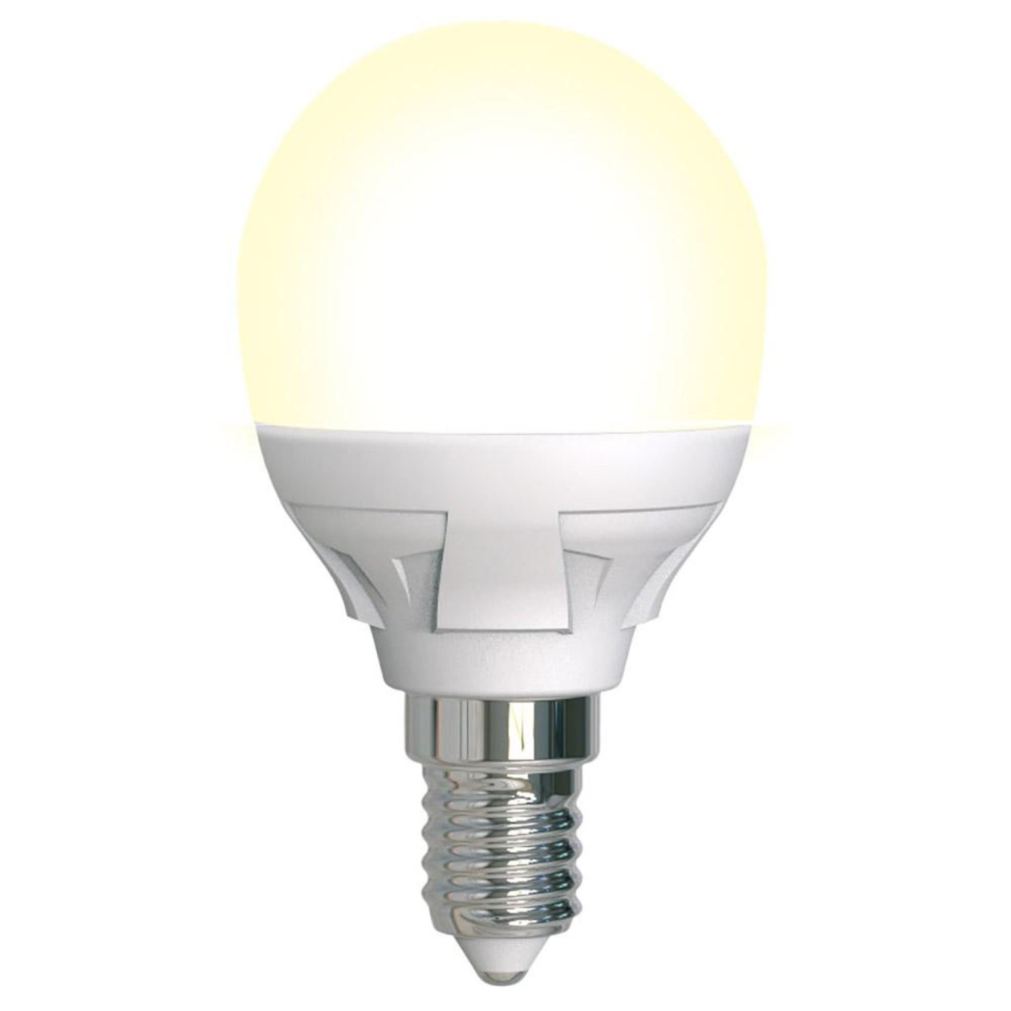 Лампа светодиодная Uniel Яркая Dimmable E14 шар 600 Лм 7 Вт теплый белый (желтый)