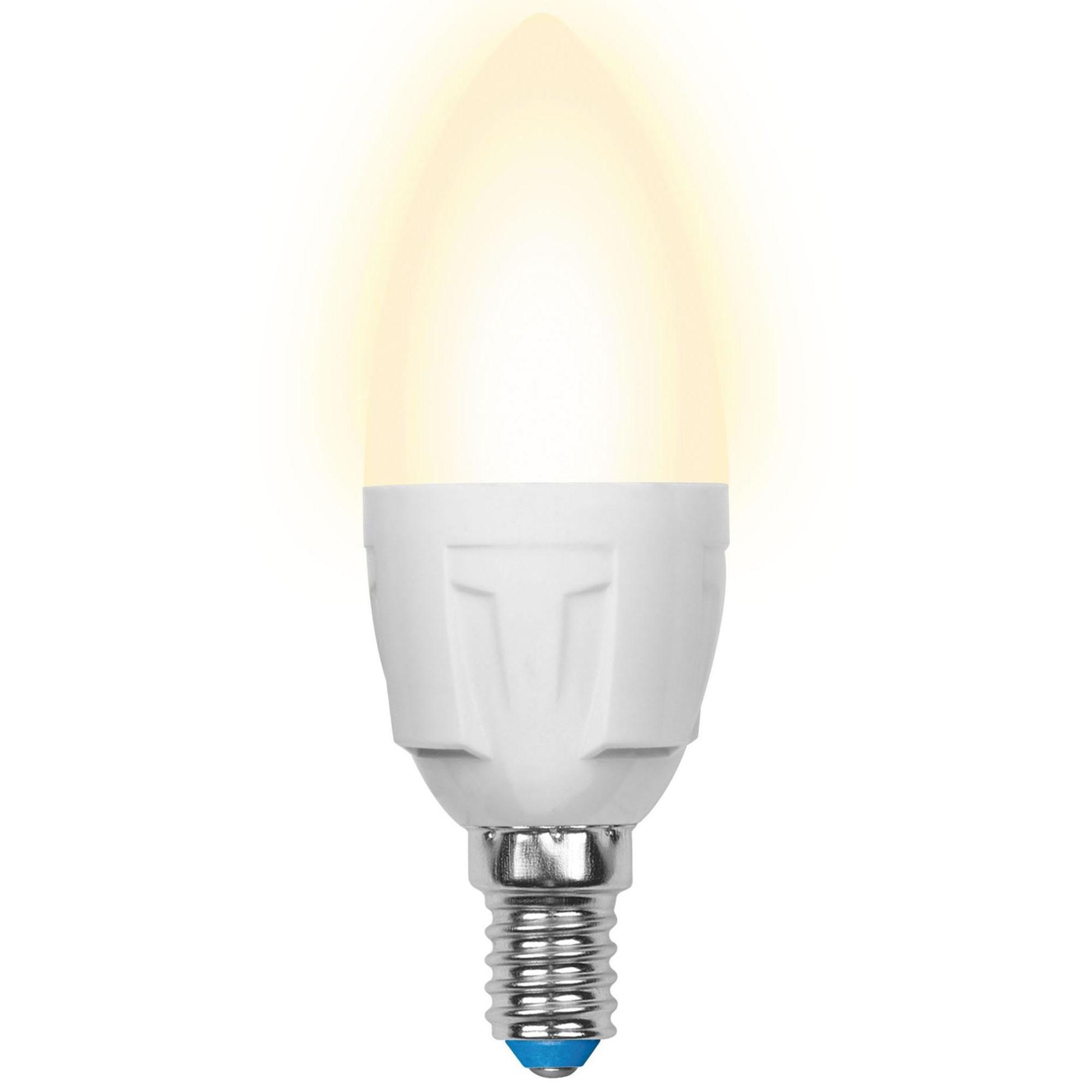 Лампа светодиодная Uniel Яркая E14 свеча 600 Лм 7 Вт теплый белый (желтый)