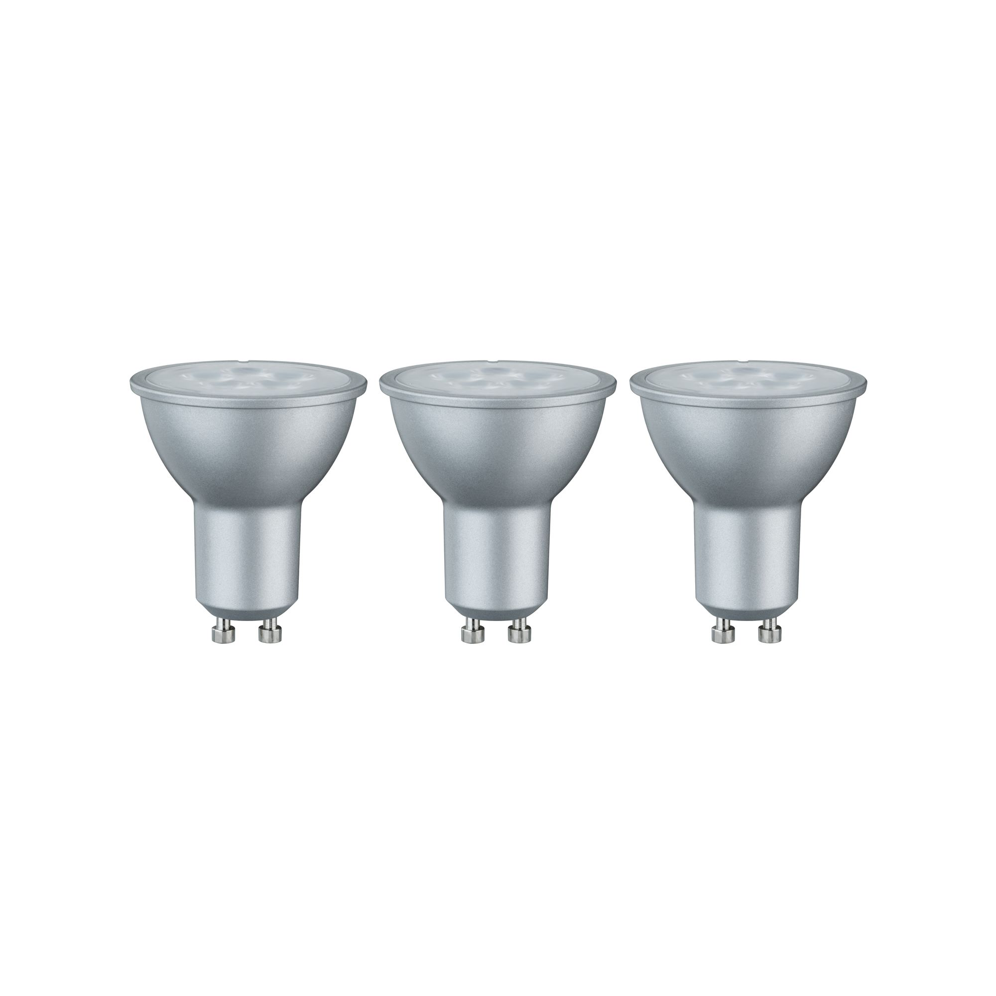 Лампа светодиодная Paulmann Рефлекторная 6.5Вт 425лм 2700К GU10 230В Алюминий Набор 3шт. 28430.