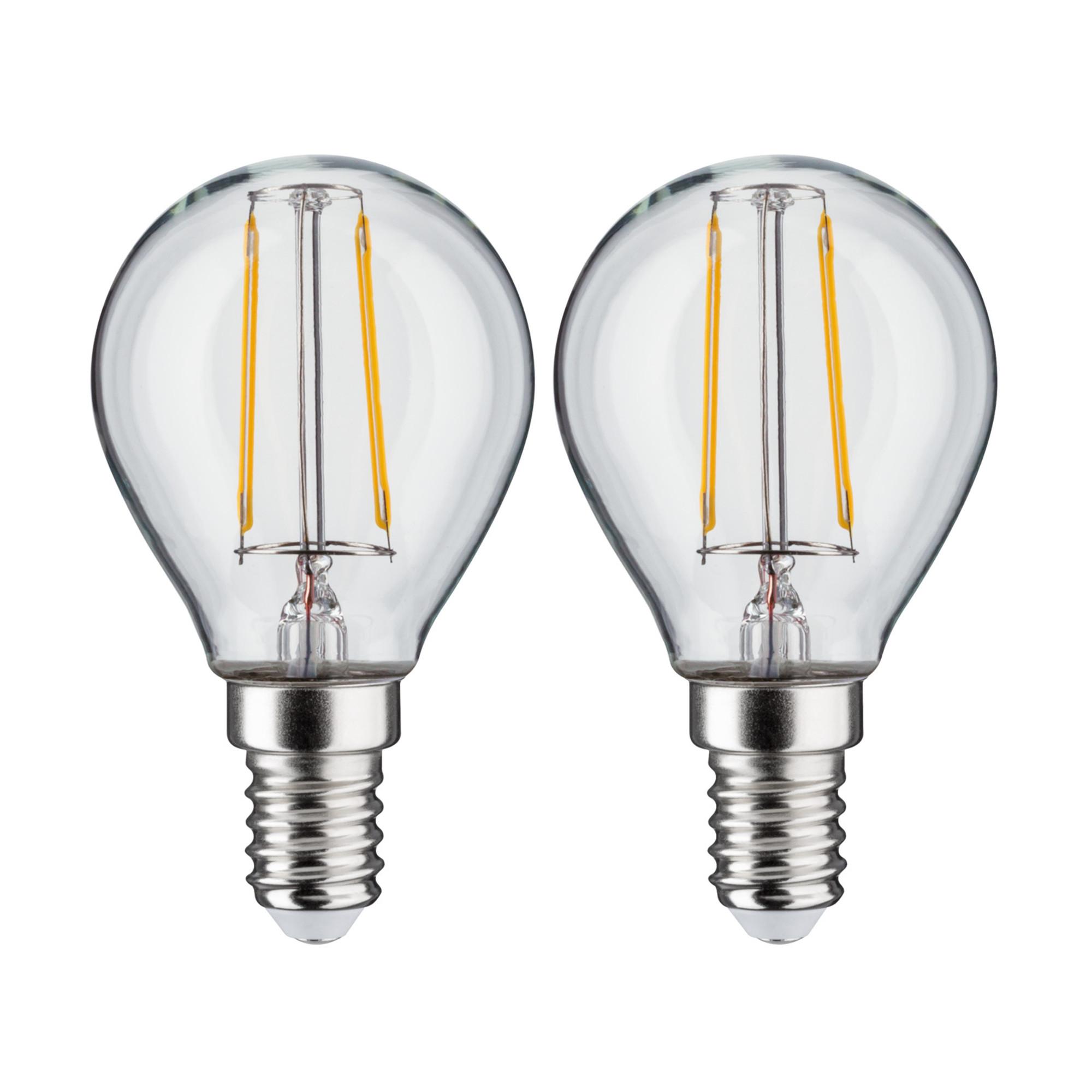 Лампа филаментная Paulmann Капля 2.5Вт 250лм 2700К Е14 230В Прозрачный Набор 2шт. 28476.