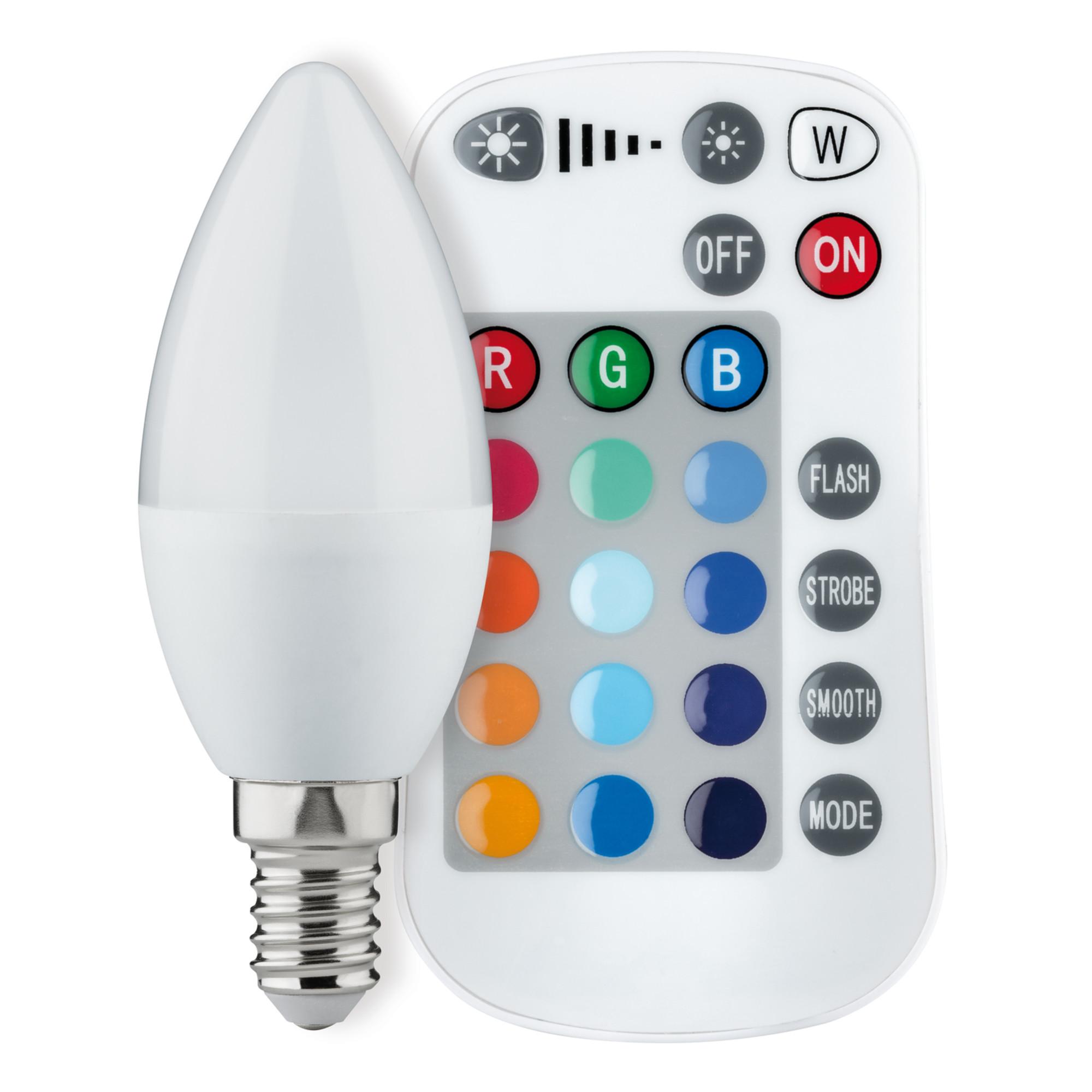Лампа светодиодная Paulmann Свеча 3.5Вт 75лм Е14 230В Опал С изменением цвета RGB  С ИК-пультом ДУ Регулируемая яркость 28517.