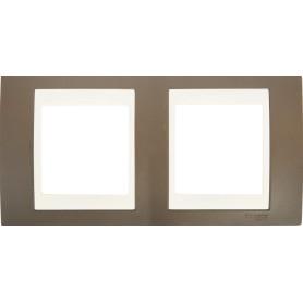 Рамка для розеток и выключателей Schneider Electric Unica 2 поста, цвет какао/бежевый