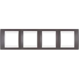 Рамка для розеток и выключателей Schneider Electric Unica 4 поста, цвет какао/бежевый