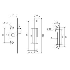 Механизм оконный Palladium, 110x20 мм, ЦАМ/сталь, цвет латунь
