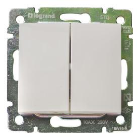 Выключатель встраиваемый Legrand Valena 2 клавиши, цвет белый